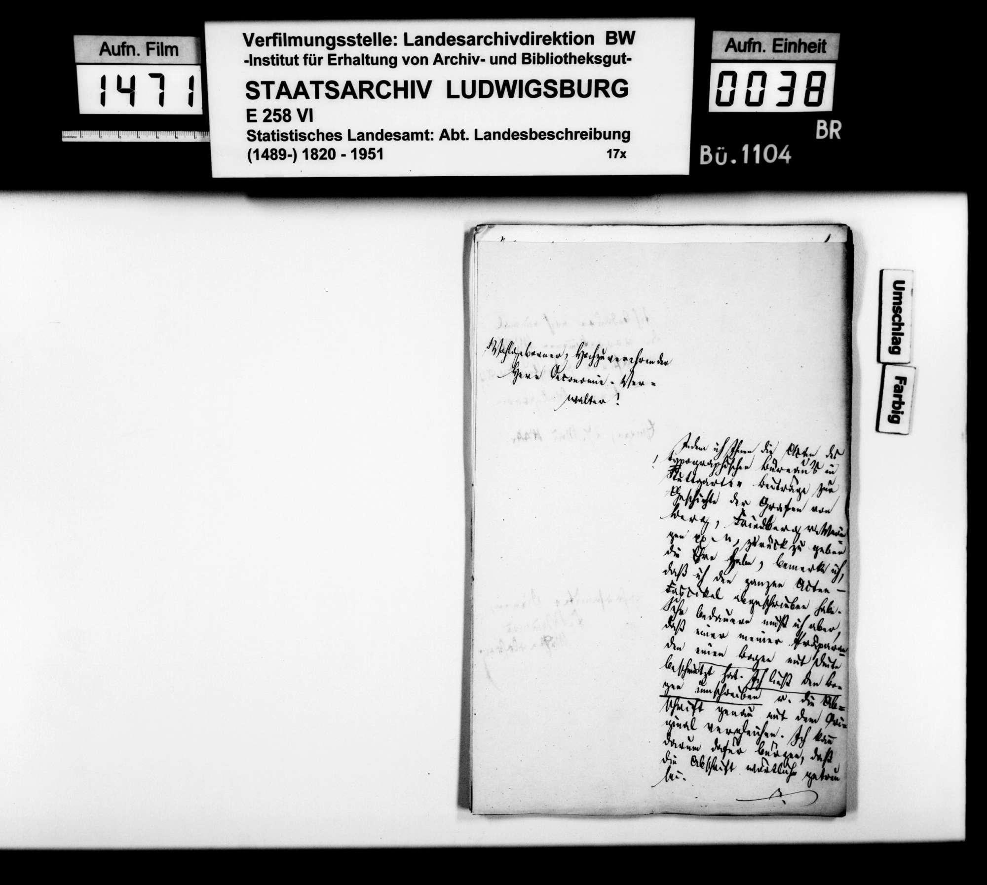 Historisches Material verschienener Art und Provenienz zur Beschreibung des Oberamts [Kopien der Kanzlei des STBs], Bild 2