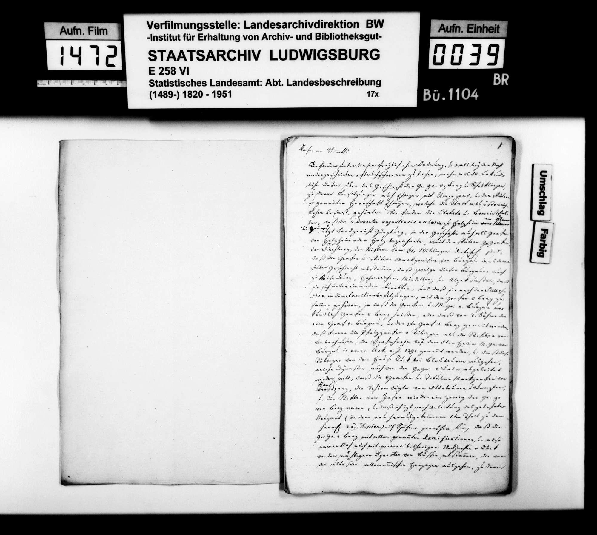Historisches Material verschienener Art und Provenienz zur Beschreibung des Oberamts [Kopien der Kanzlei des STBs], Bild 3