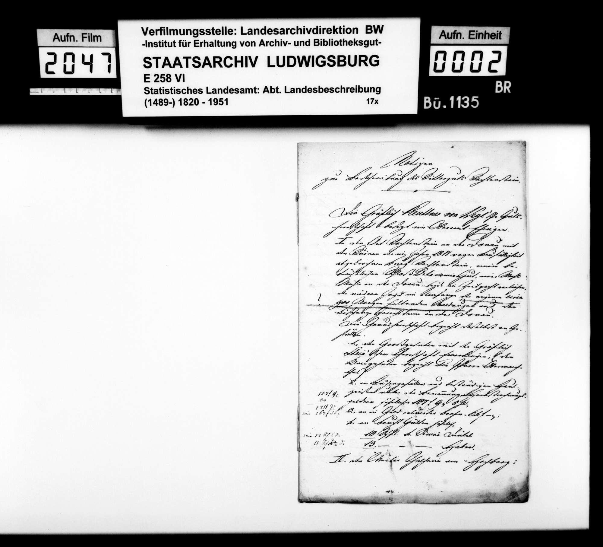 Mitteilung des Rentbeamten Eser aus Hürbel über das Rittergut Rechtenstein, Bild 1