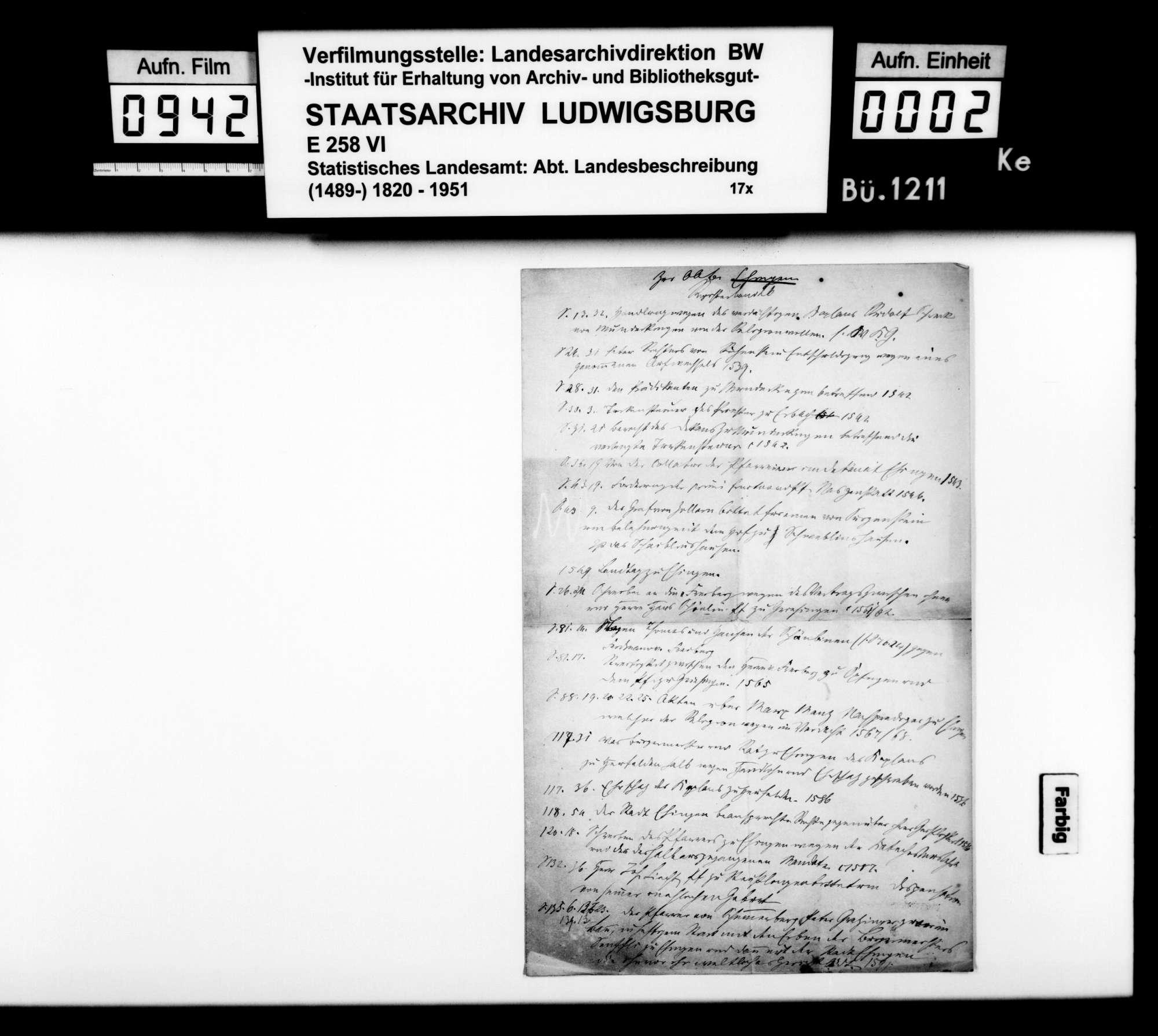 Materialsammlung sowie Berichtigung und Nachtrag zur OAB 1893, Bild 1