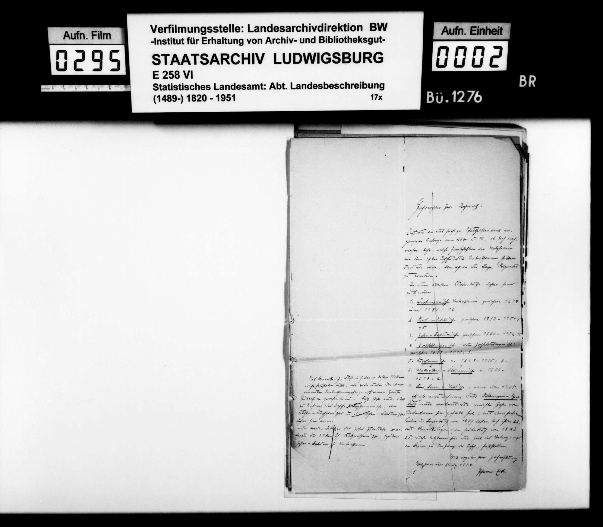 Auskünfte lokaler Amtsträger auf Nachfragen des STBs v.a. zu Besitzgeschichte und Rechtsverhältnissen, Bild 1
