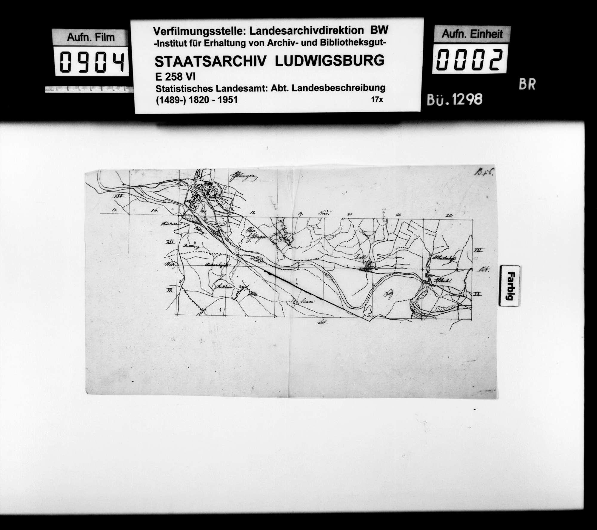 Skizzen der Flurkartenquadrate XX 15 - XX 22 (Esslingen-Altbach) und XVII 13 - XV 18 (Sielmingen-Denkendorf) im Maßstab ca. 1:25 000, Bild 1