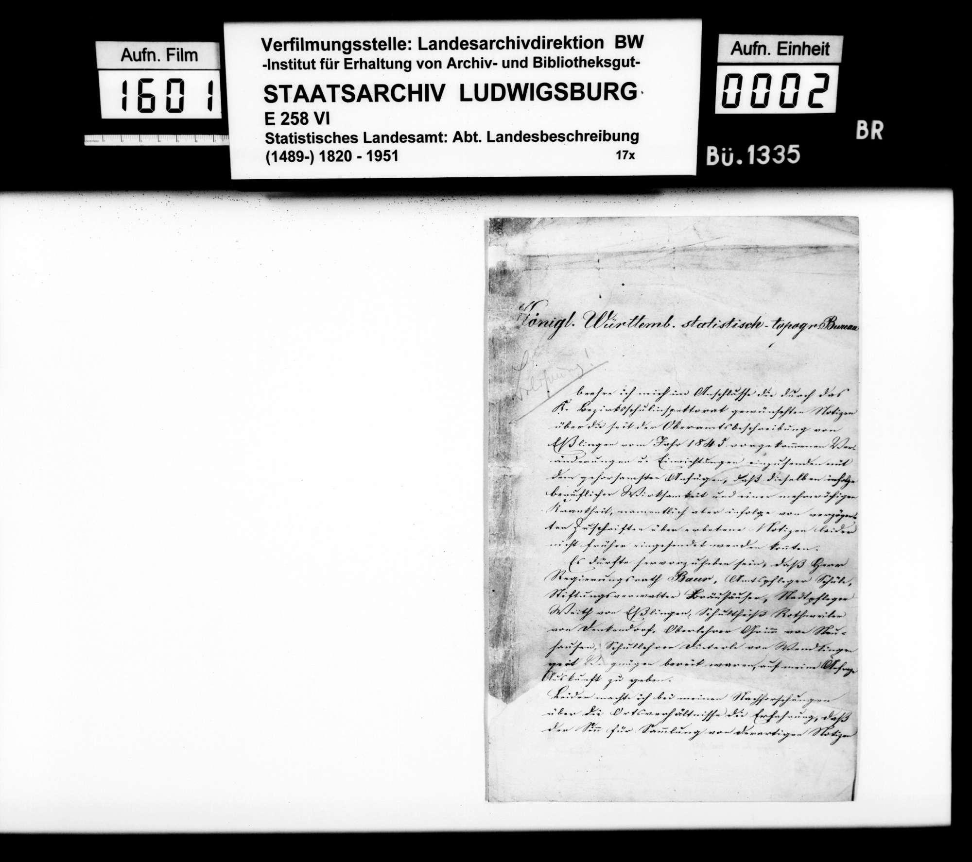 Beschreibung der seit 1845 eingetretenen Veränderungen im Oberamtsbezirk, von Schullehrer Mauz aus Nellingen, Bild 1