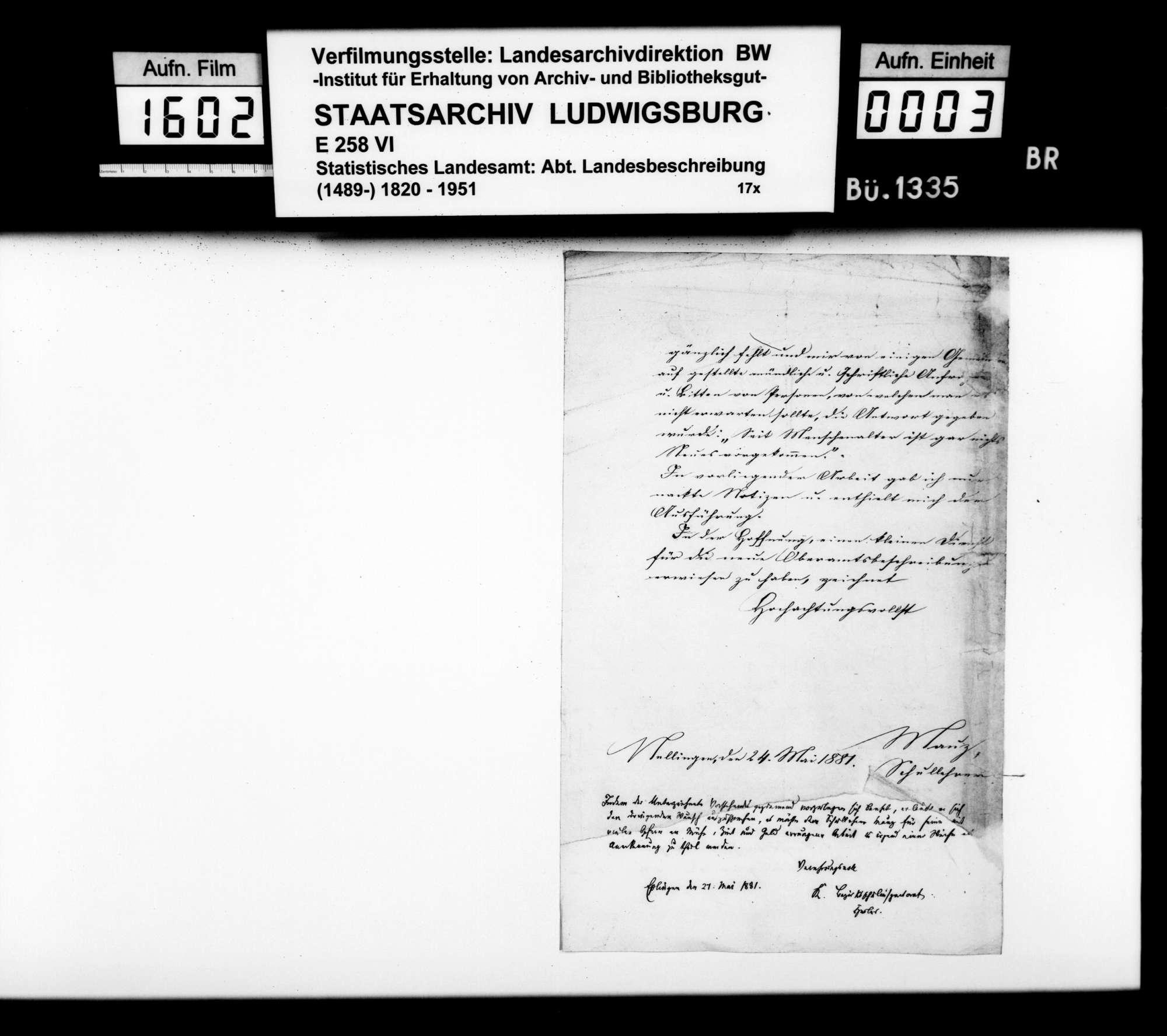 Beschreibung der seit 1845 eingetretenen Veränderungen im Oberamtsbezirk, von Schullehrer Mauz aus Nellingen, Bild 2