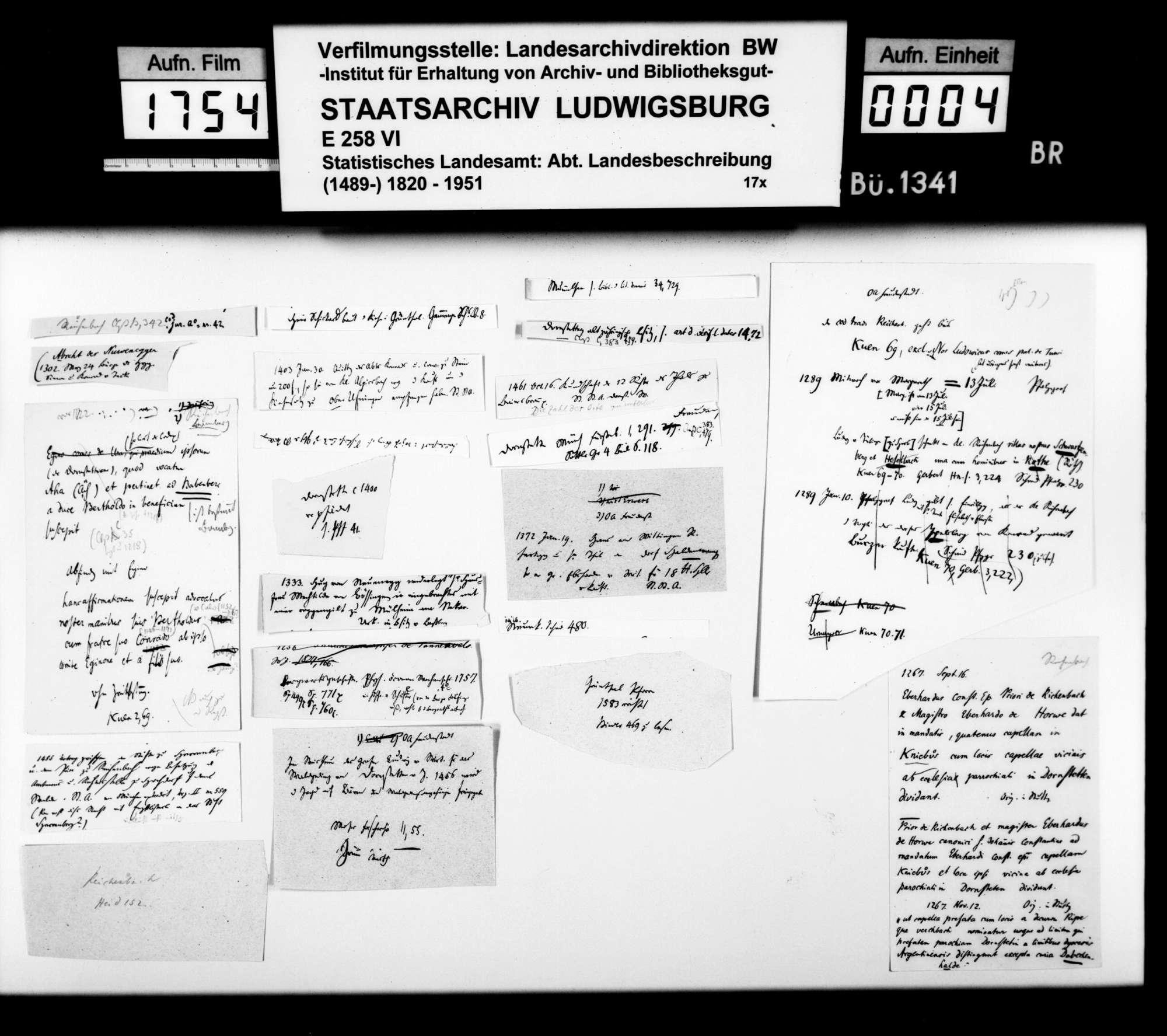 Urkundenauszüge und Notizen [v.a. des Oberstudienrats Christoph Friedrich Stälin] zur mittelalterlichen Besitzgeschichte im Oberamtsbezirk, Bild 3