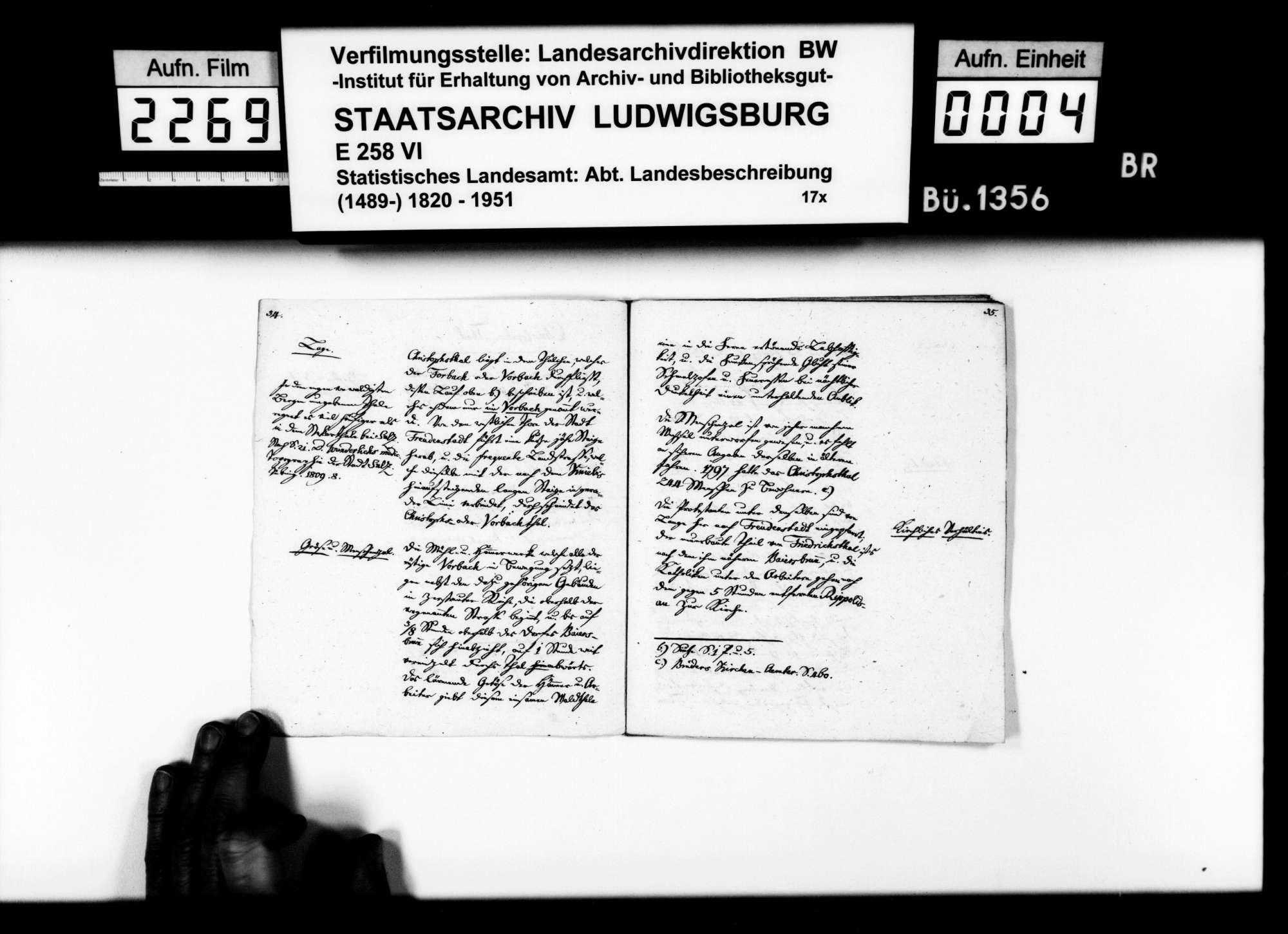 Topographisch-statistische und historiographische Beschreibungen, auch Notizen, zu verschiedenen Orten im Oberamt, von Pfarrer Köhler aus Marschalkenzimmern, Bild 3
