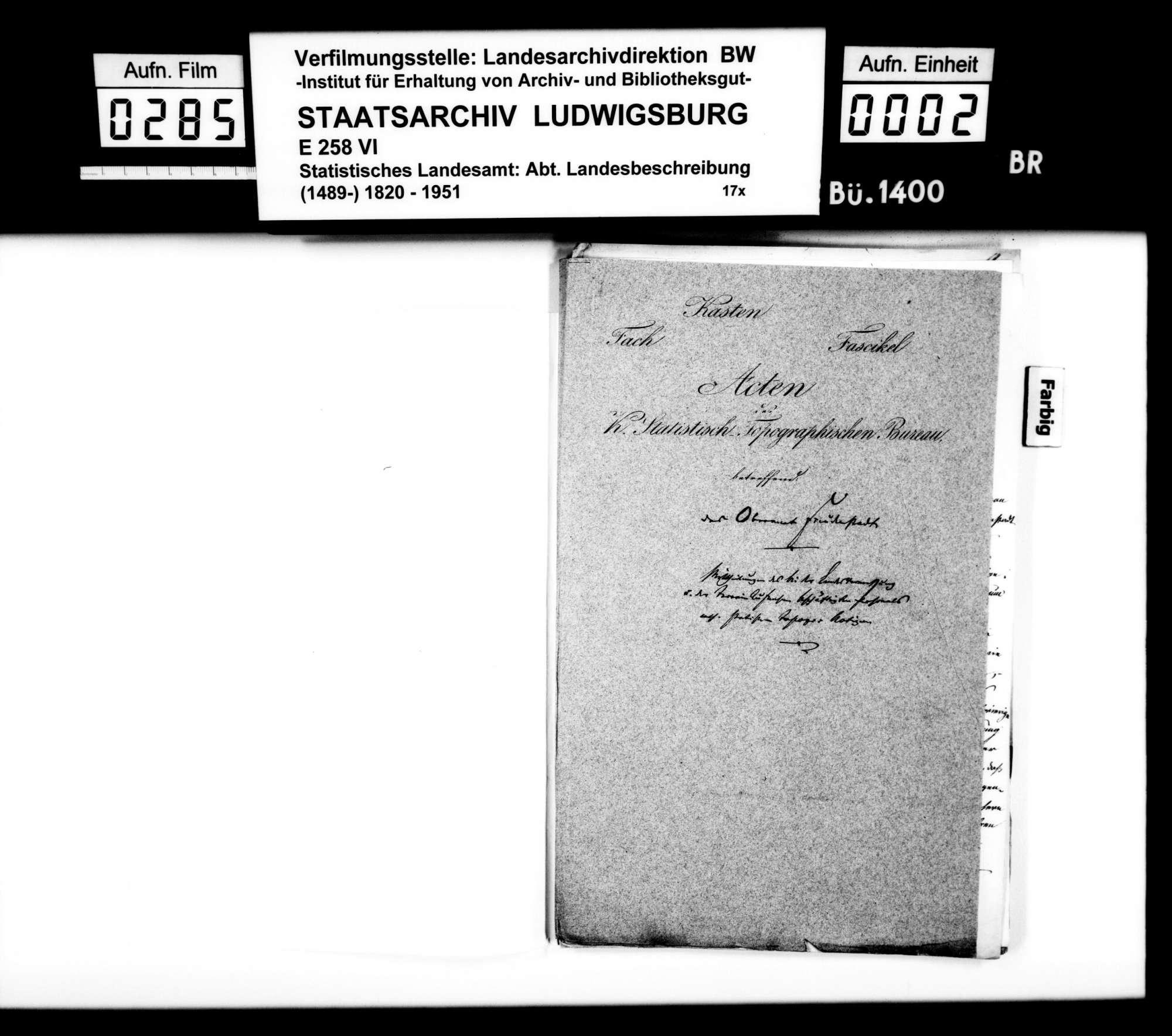 Statistisch-topographische Notizen des Trigonometers Kohler zum Oberamt, Bild 1