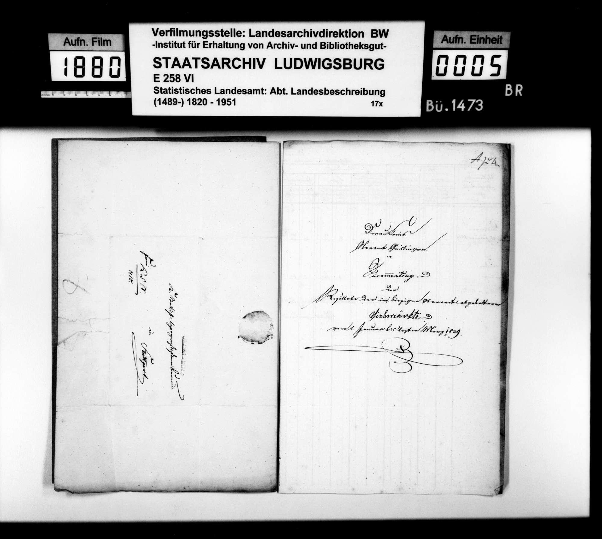 Umsätze und Preise auf den Viehmärkten in Kuchen am 2. Febr. und in Geislingen am 25. Febr. 1839, Bild 2