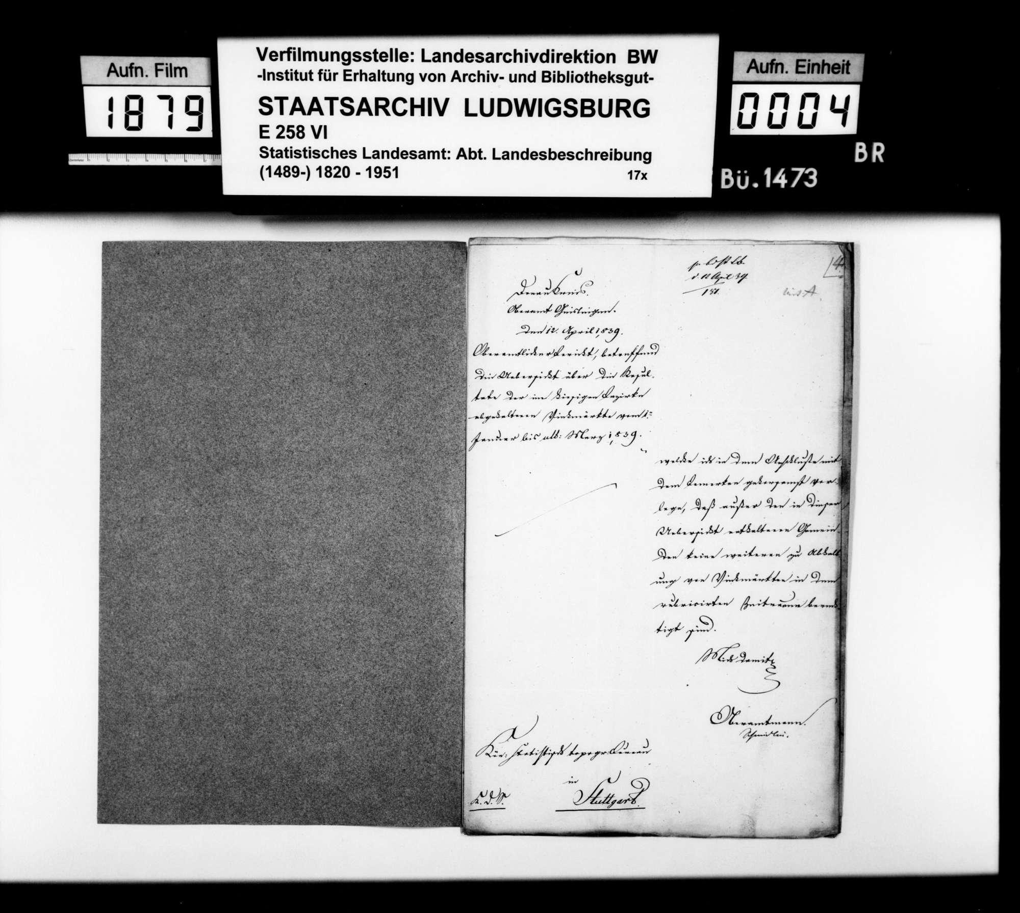 Umsätze und Preise auf den Viehmärkten in Kuchen am 2. Febr. und in Geislingen am 25. Febr. 1839, Bild 3