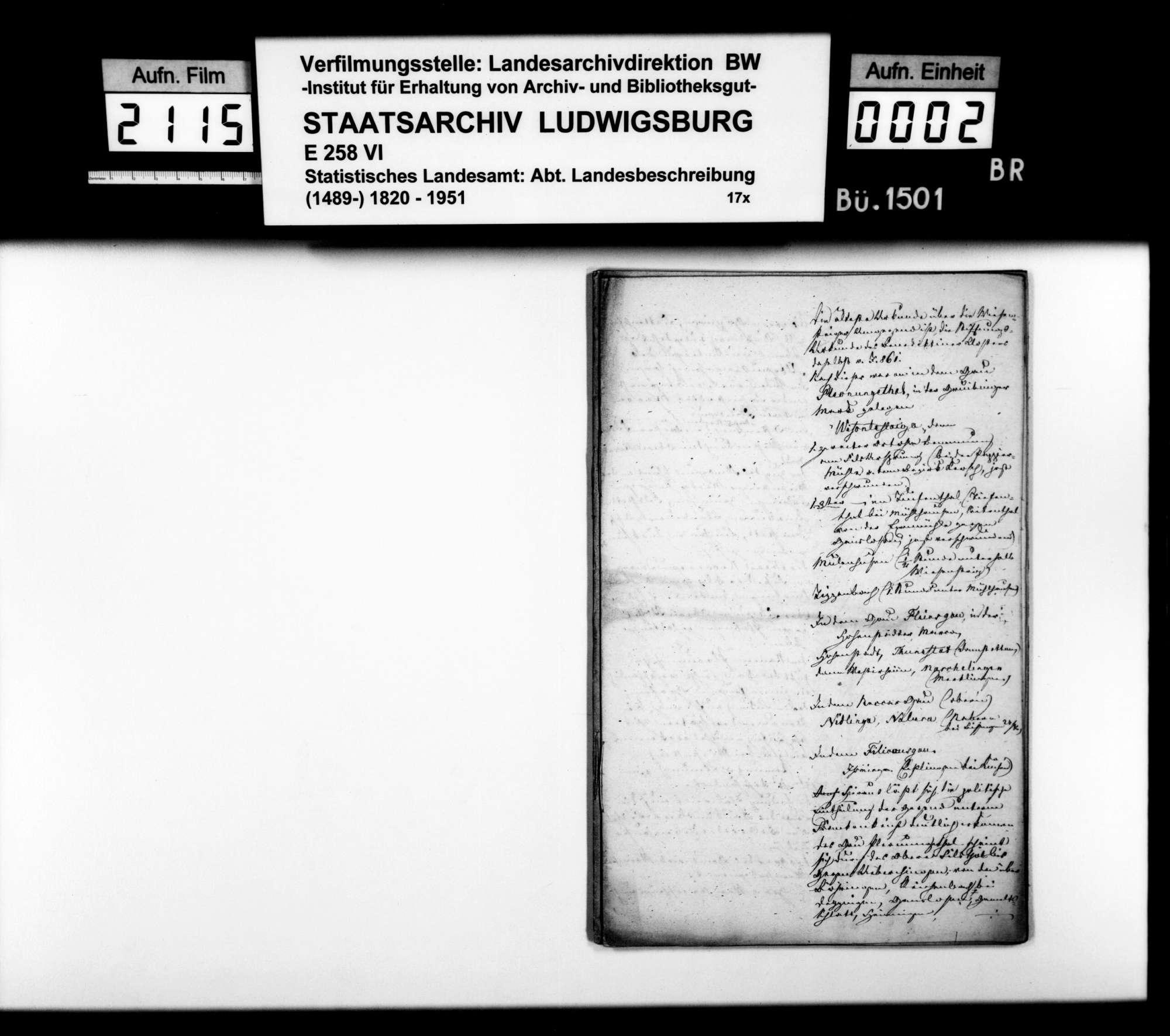 Beschreibung des Gebiets der vormaligen Herrschaft Wiesensteig durch den Steuerkommissär Steinheil, gewesenen Kameralamtsbuchhalter in Wiesensteig, Bild 1