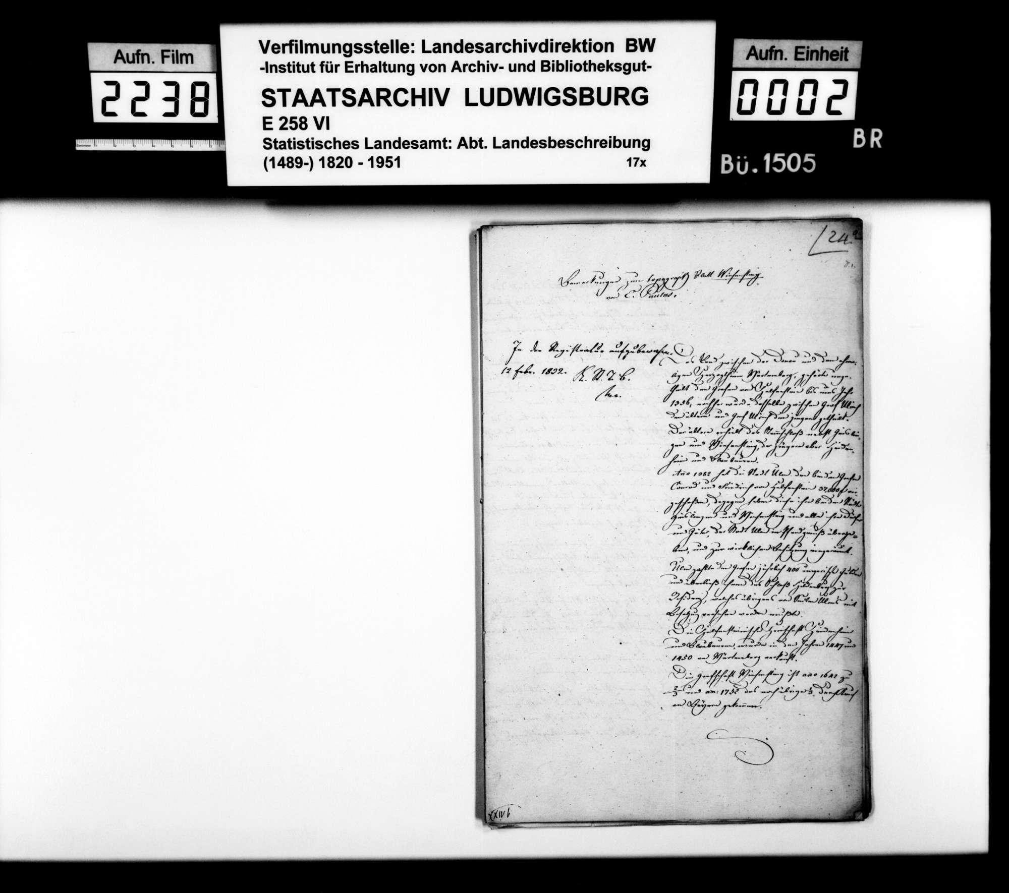 Bemerkungen des Topographen [Karl] E[duard] Paulus zu den topographischen Blättern Wiesensteig, Weißenstein und Donzdorf, Bild 1