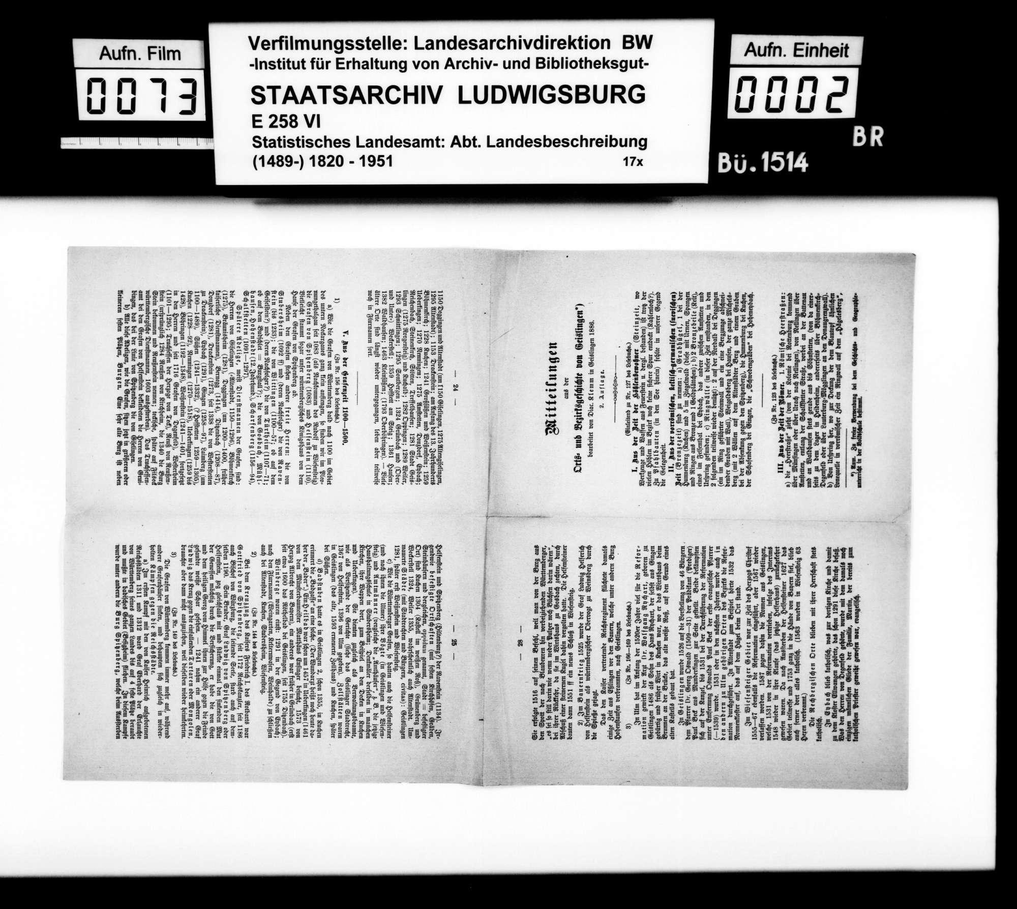 Sammlung gedruckten Materials v.a. zur Geschichte, für eine Neubearbeitung der OAB, Bild 1