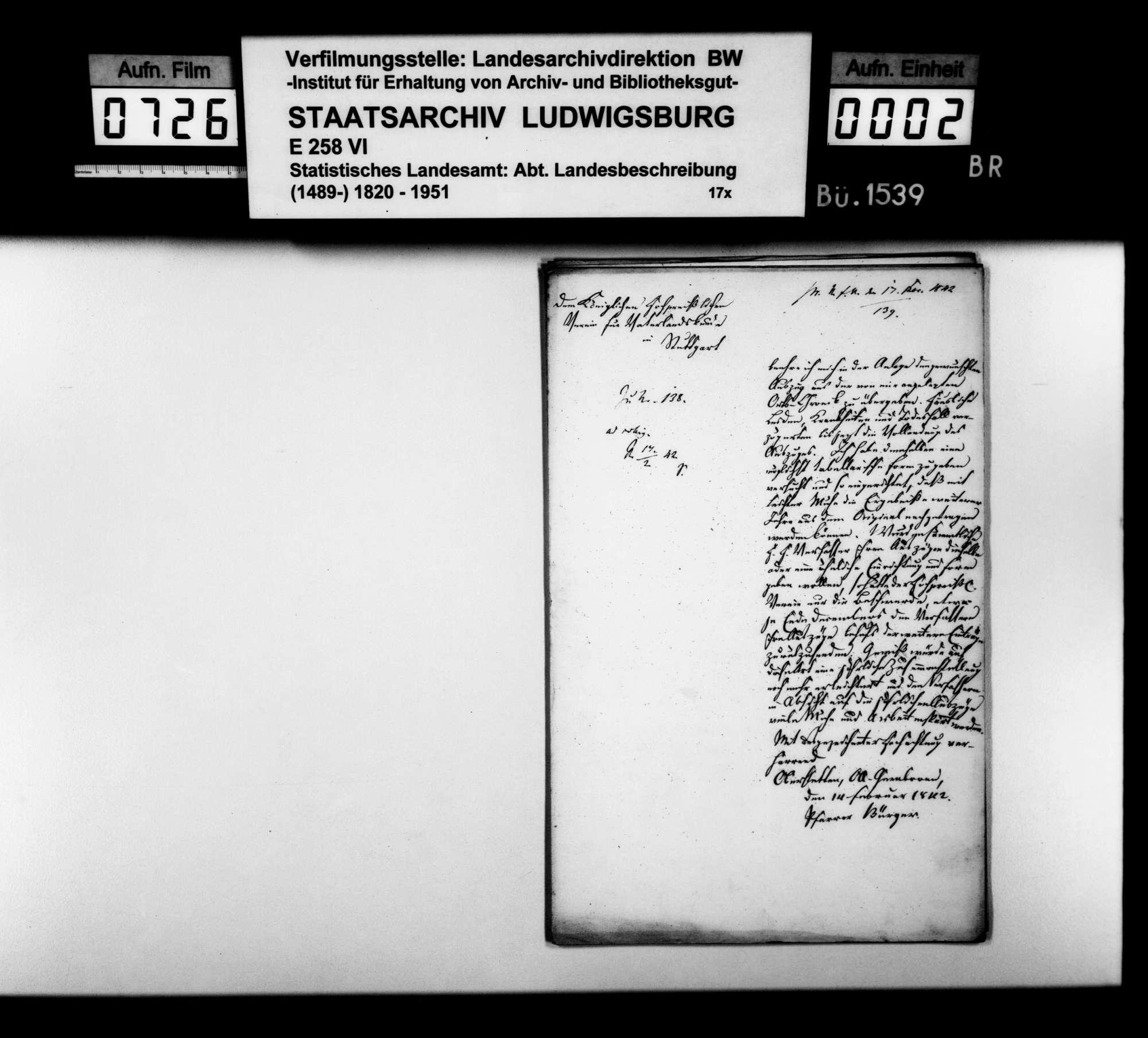 Auszüge aus der Ortschronik von Niederstetten für die Jahre 1841/42/43, von Pfarrer Bürger aus Oberstetten, Bild 1