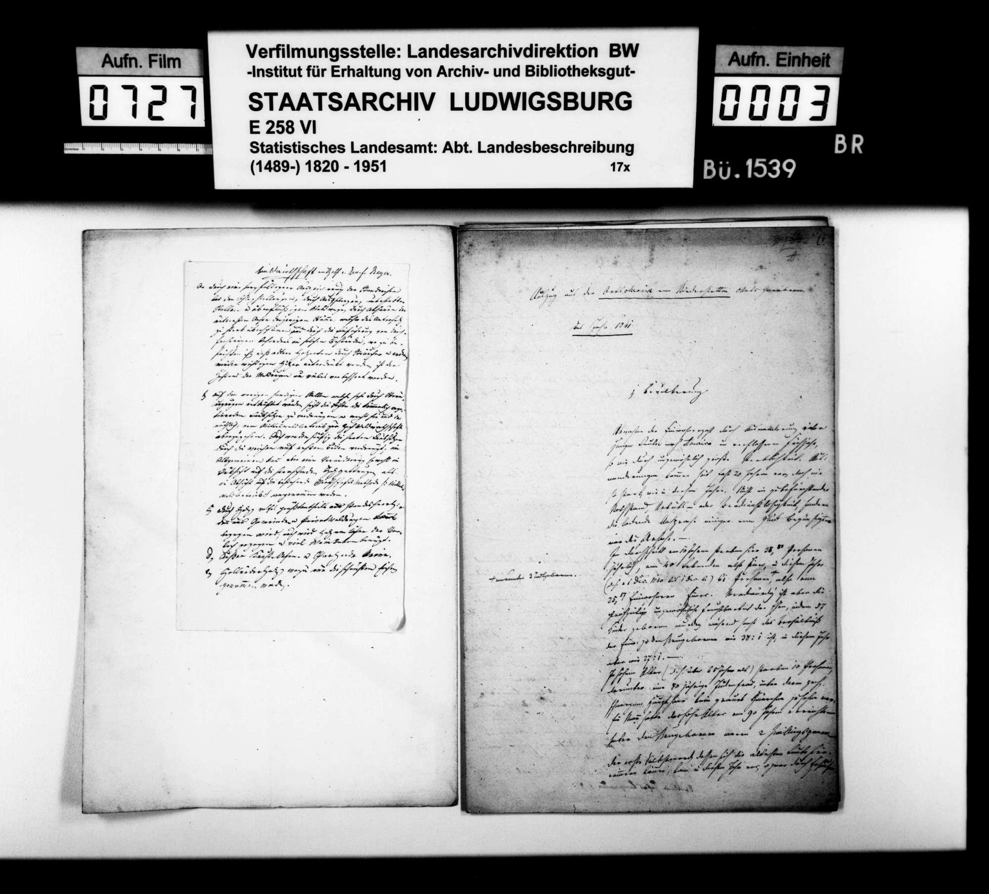 Auszüge aus der Ortschronik von Niederstetten für die Jahre 1841/42/43, von Pfarrer Bürger aus Oberstetten, Bild 2