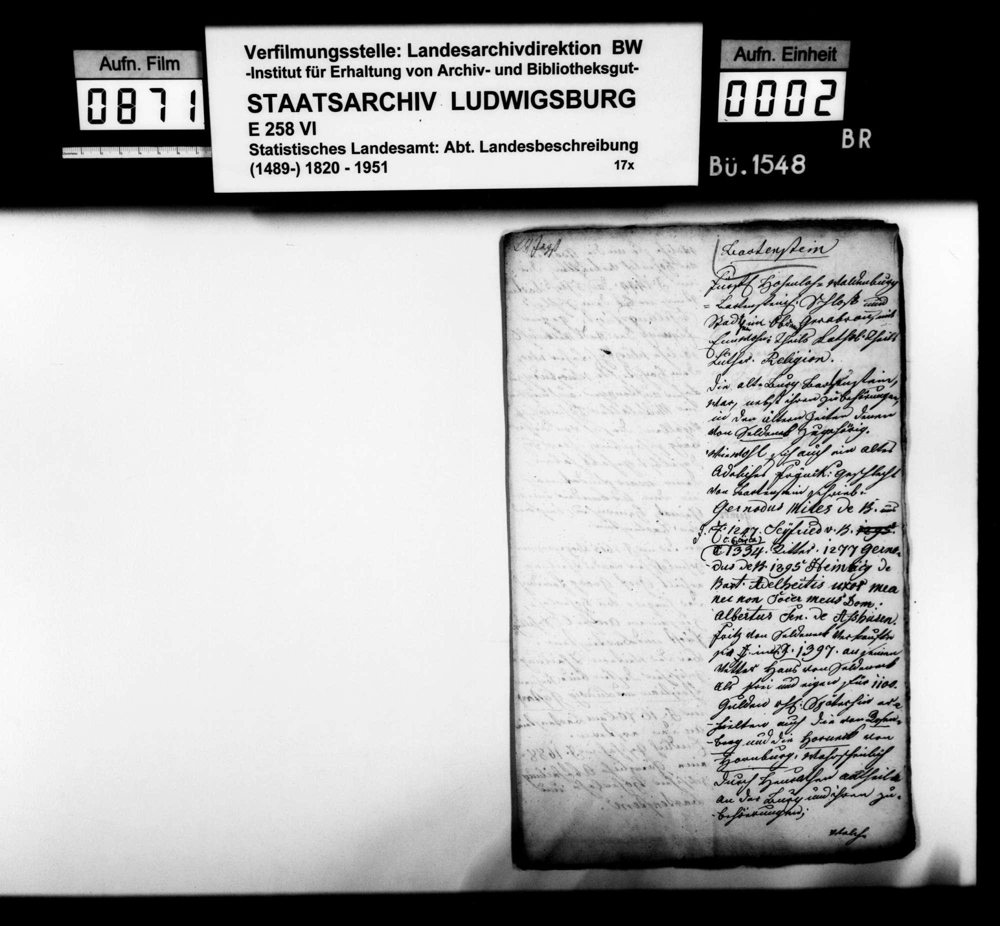 Statistisch-historische Ortsbeschreibung von Bartenstein und Blaufelden, o.Verf. [vermutlich von Regierungsrat Büttner], Bild 1