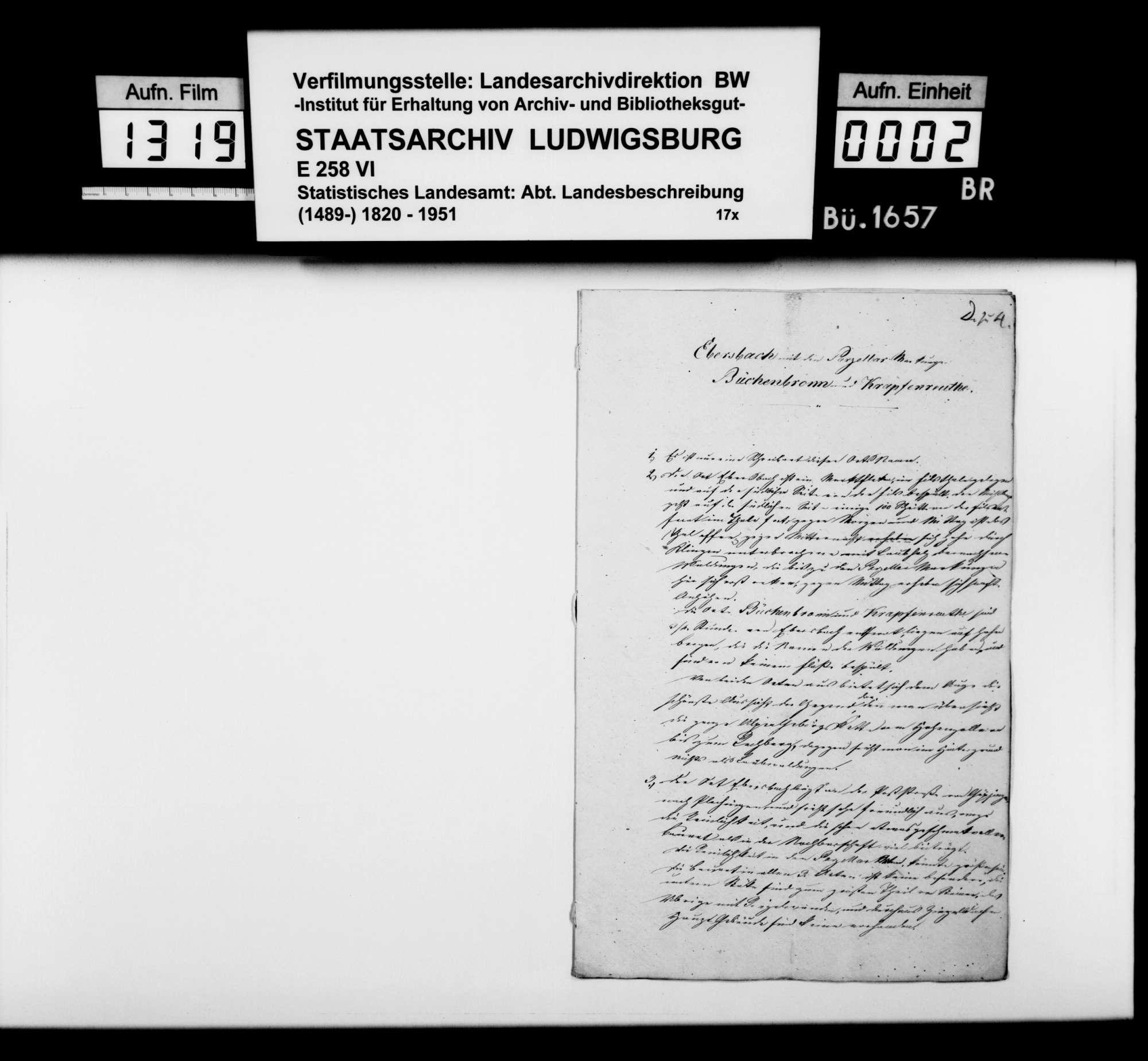 Notizen zur Beschreibung von Ebersbach mit Büchenbronn und Krapfenreut nach dem Fragenkatalog des STBs (wie oben bei Bezgenriet), Bild 1