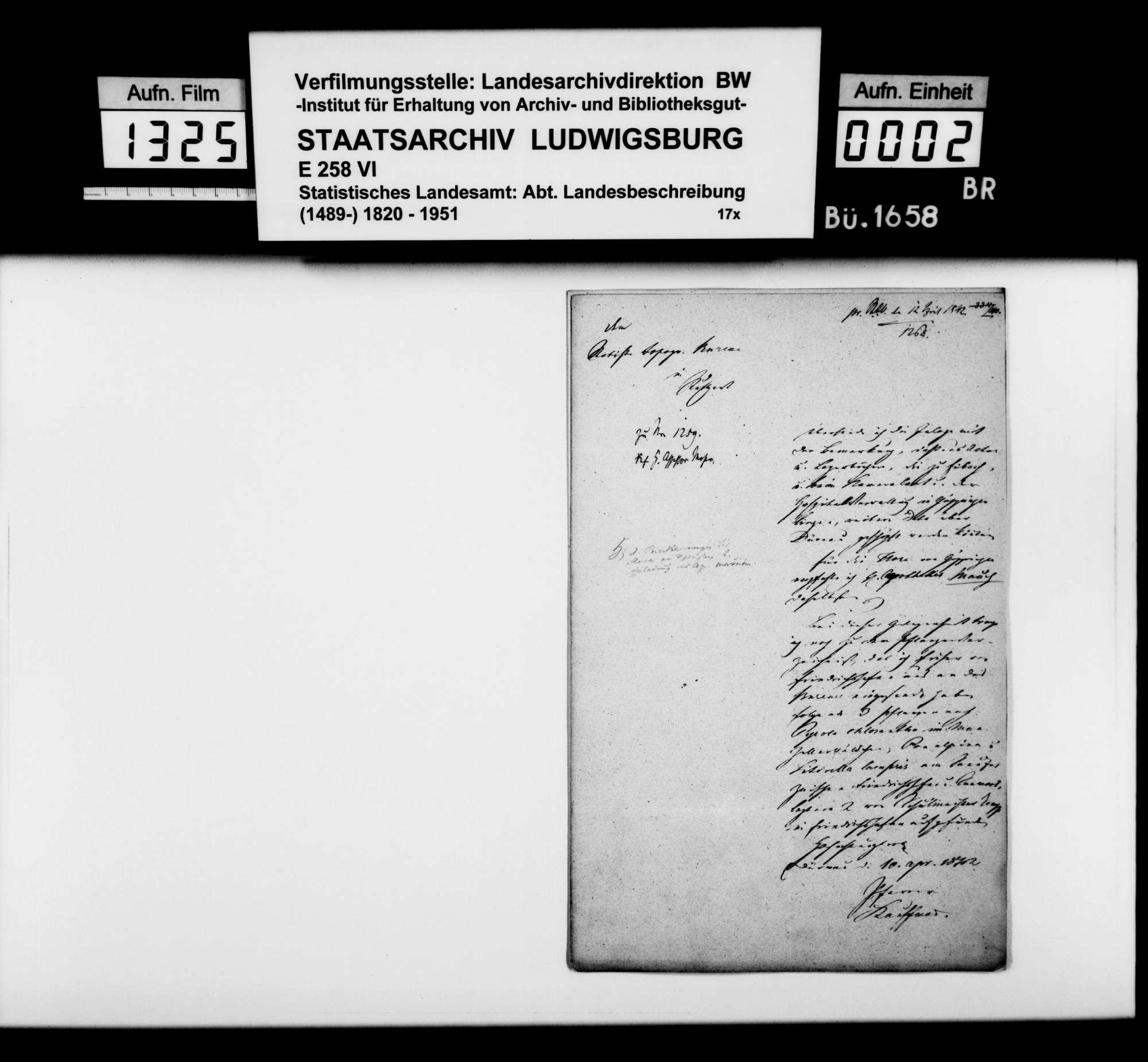 Mitteilungen des Pfarrers Kauffmann zur Ortsbeschreibung von Dürnau und Gammelshausen, Bild 1