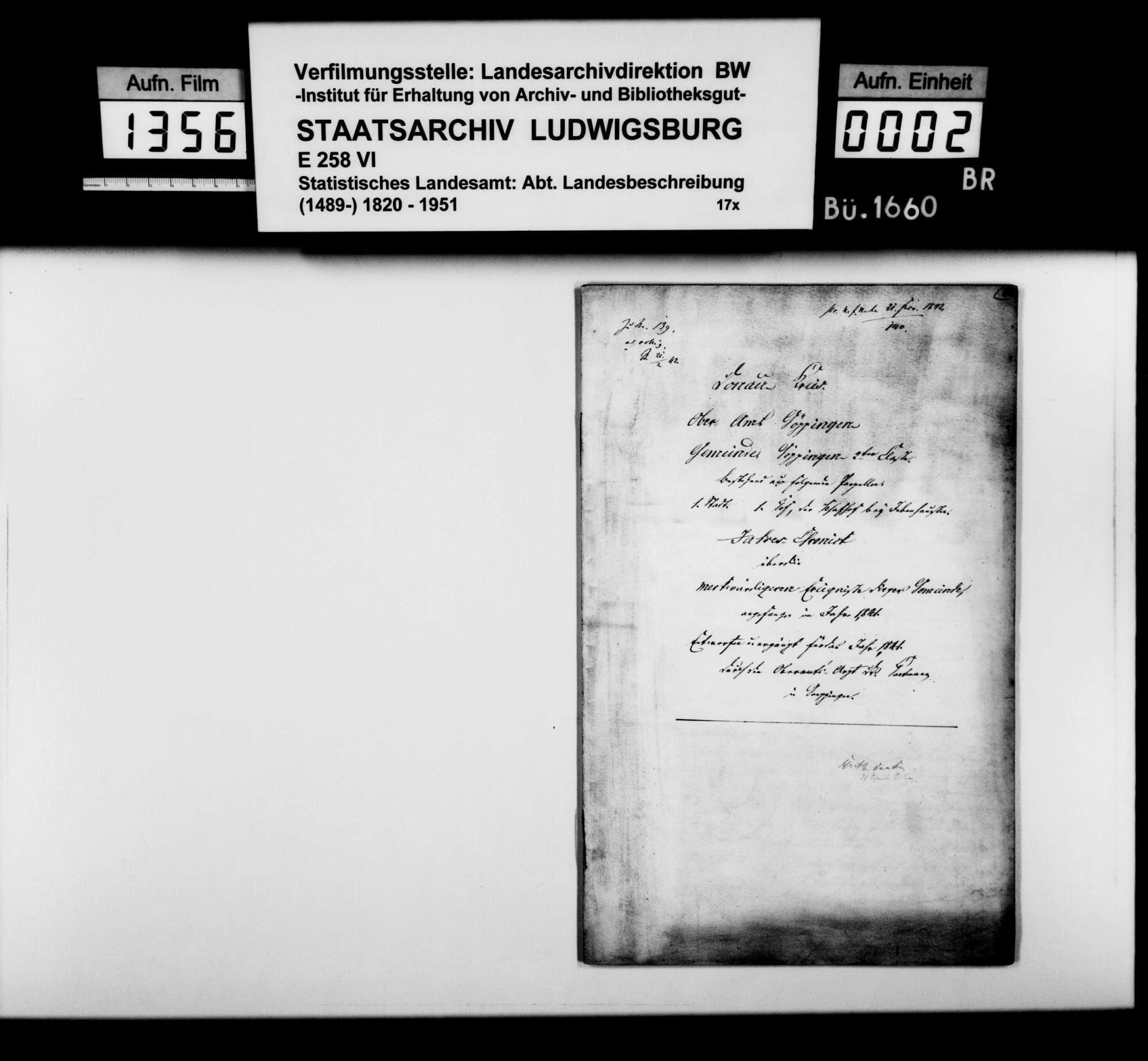Jahreschronik der Stadt Göppingen für die Jahre 1841 und 1842, von Oberamtsarzt Dr. von Hartmann, Bild 1