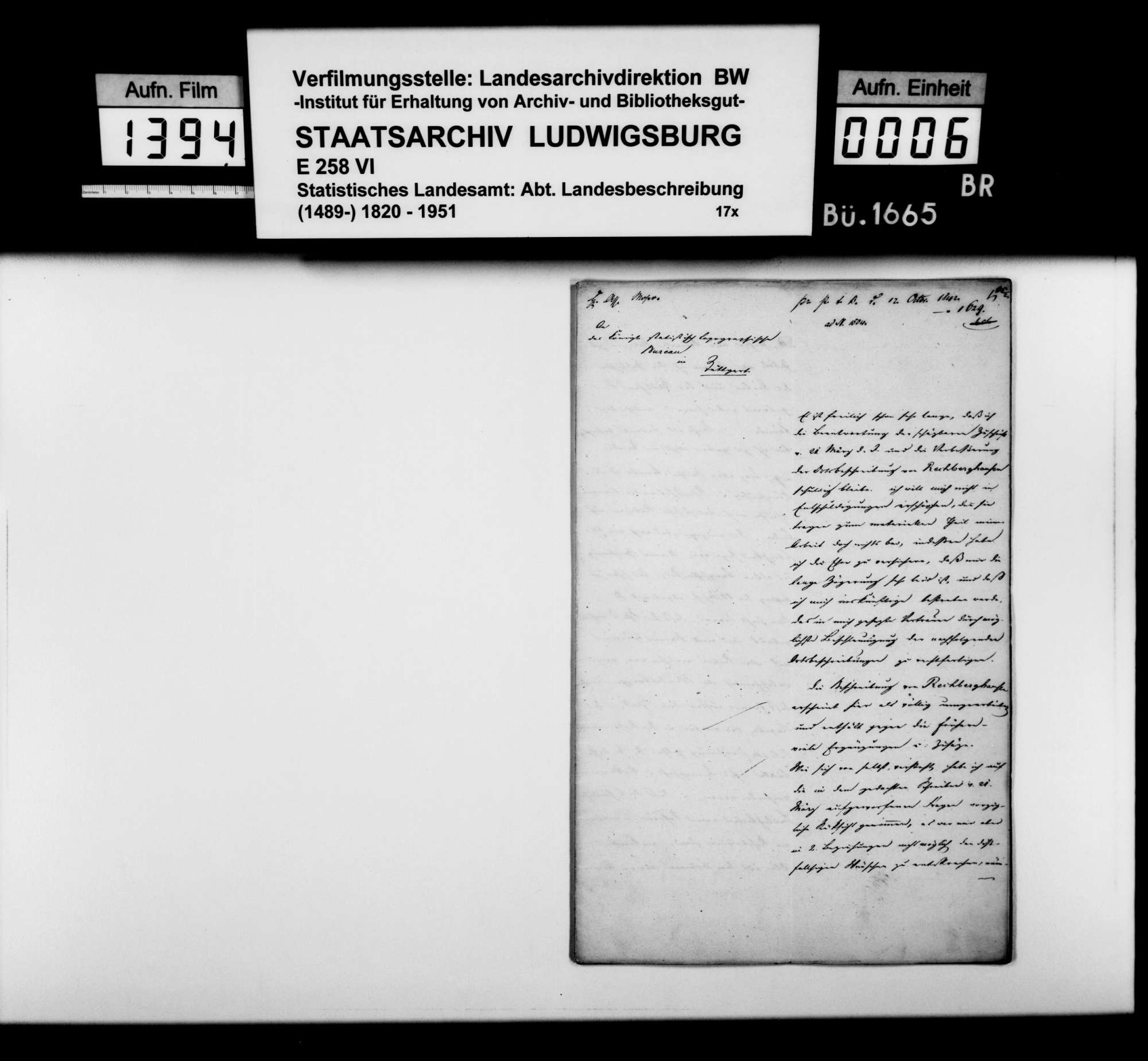 Beschreibung von Rechberghausen durch Rentamtmann Magenau aus Eybach, Bild 1