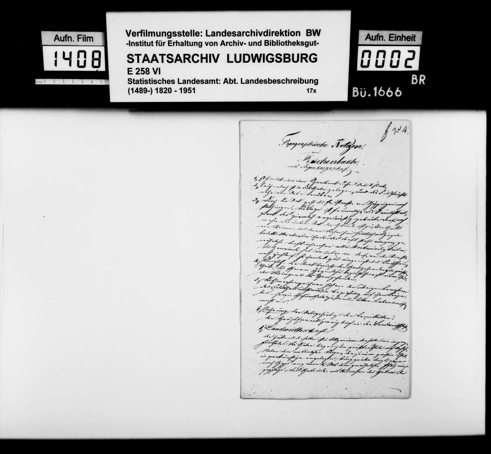 Notizen zur Beschreibung von Reichenbach mit Siegenberg nach dem Fragenkatalog des STBs (wie oben bei Bezgenriet), Bild 1