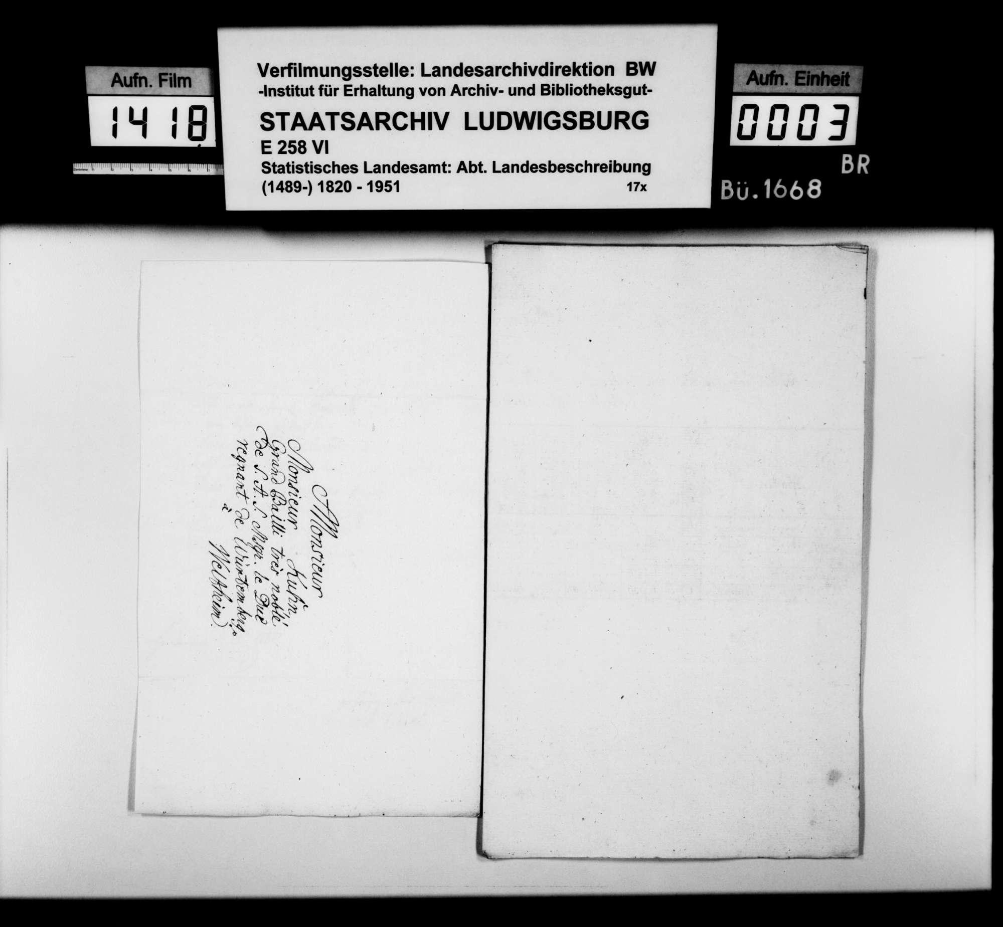 Übersendung tabellarischer Beispiele aus dem [alten] Oberamt Göppingen zur