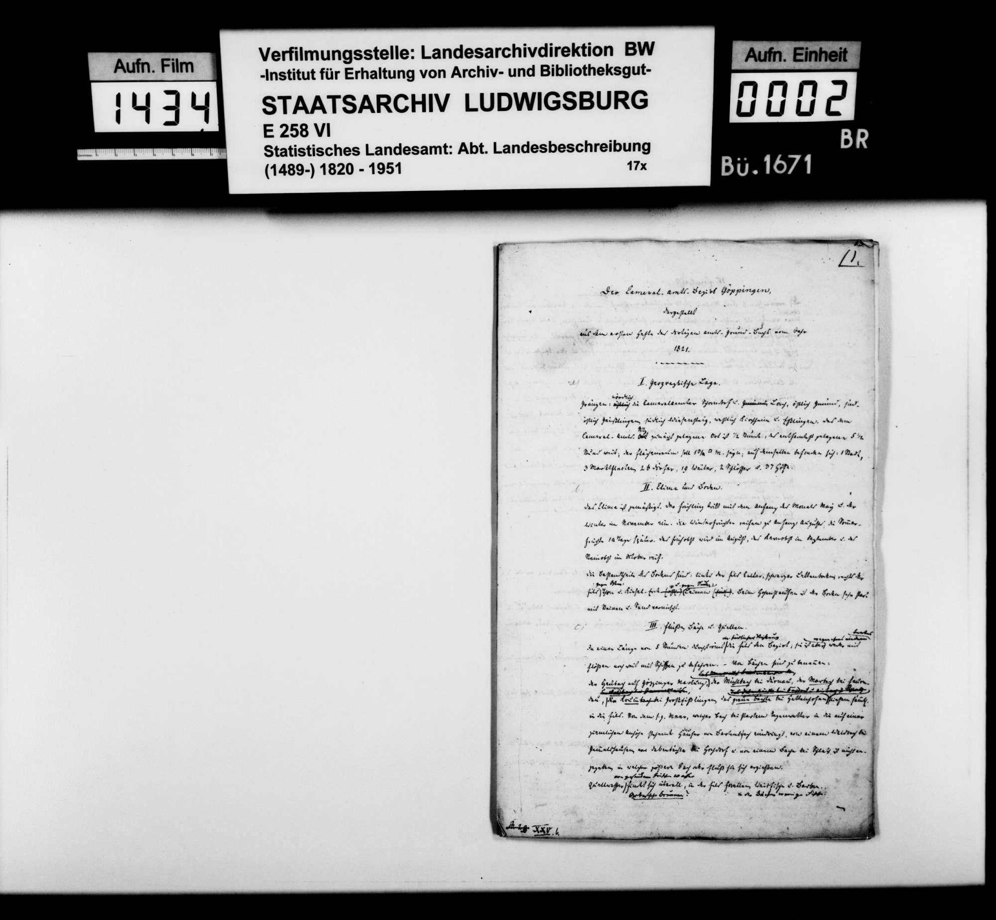 Auszüge aus Heft I des Kameralamtsgrundbuchs Göppingen mit grundlegenden Informationen zum Oberamtsbezirk, Bild 1