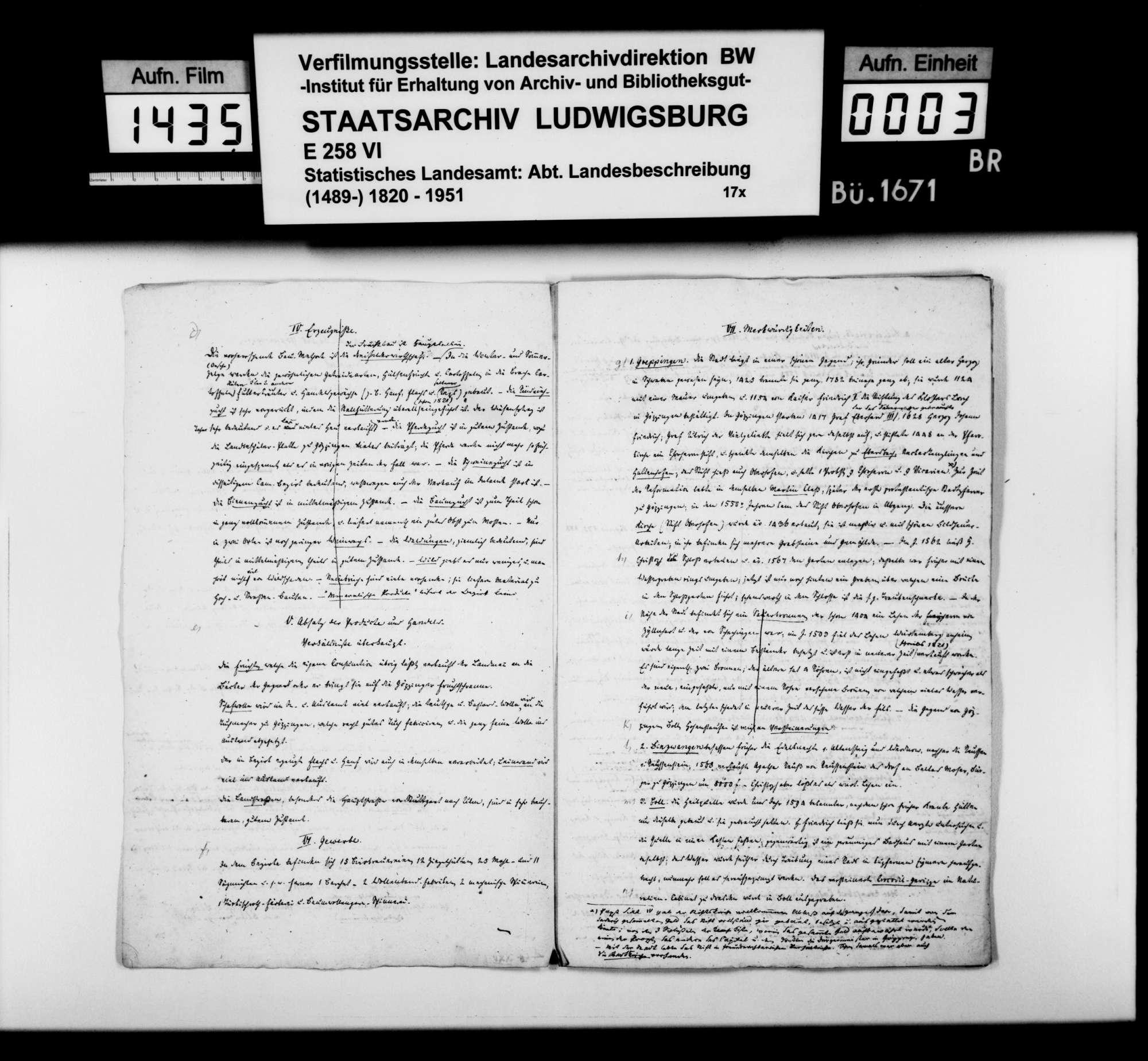 Auszüge aus Heft I des Kameralamtsgrundbuchs Göppingen mit grundlegenden Informationen zum Oberamtsbezirk, Bild 2