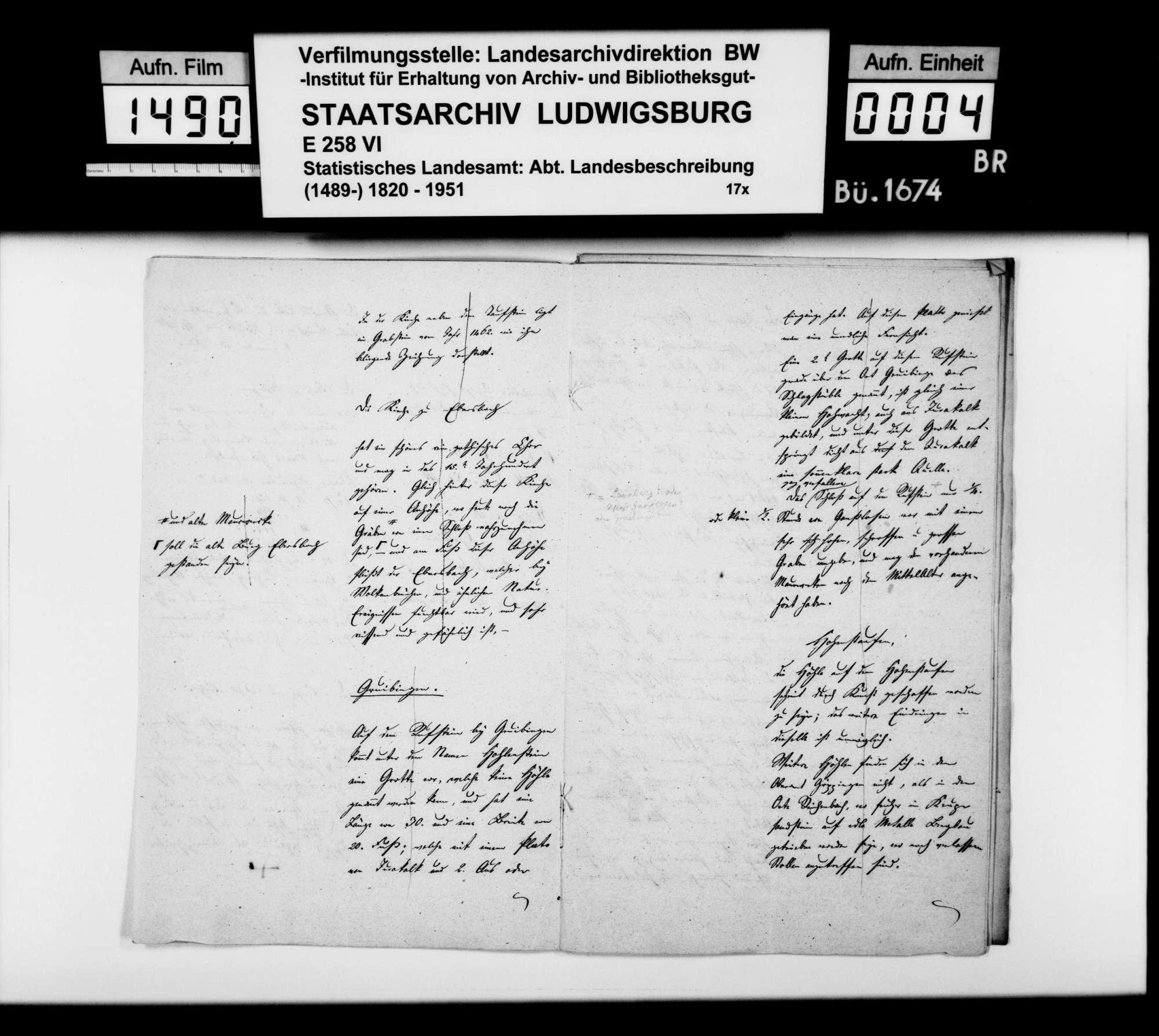 Mitteilungen [des Oberamtmanns Kausler] und Übermittlung weiterer Berichte zu Kirchen, Burgruinen, Volkssagen u.dgl., Bild 3