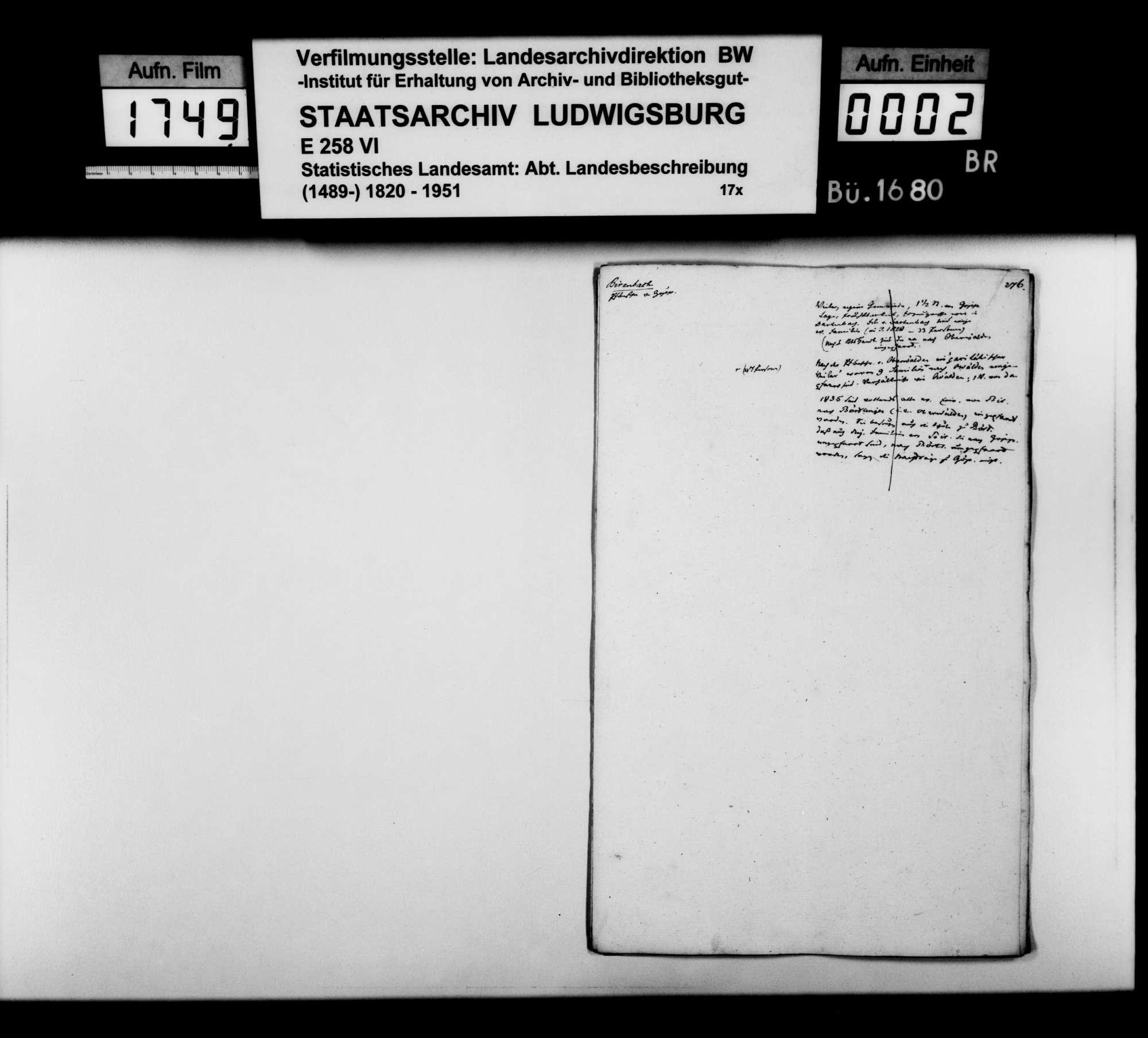 Desgleichen von Birenbach; fol. 276-284, Bild 1