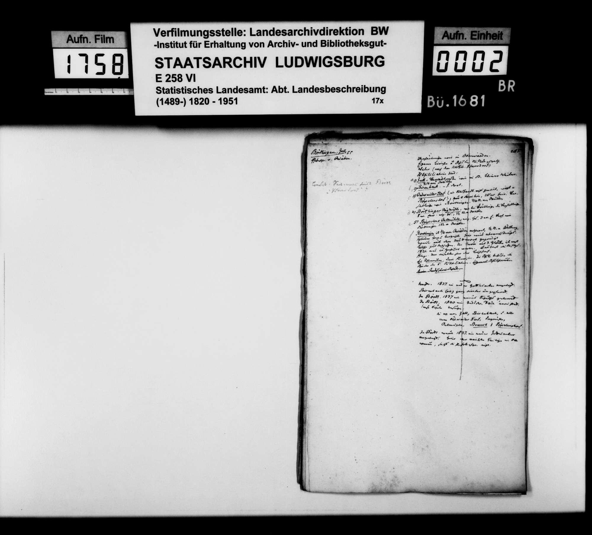 Desgleichen von Börtlingen; fol. 285-298, Bild 1