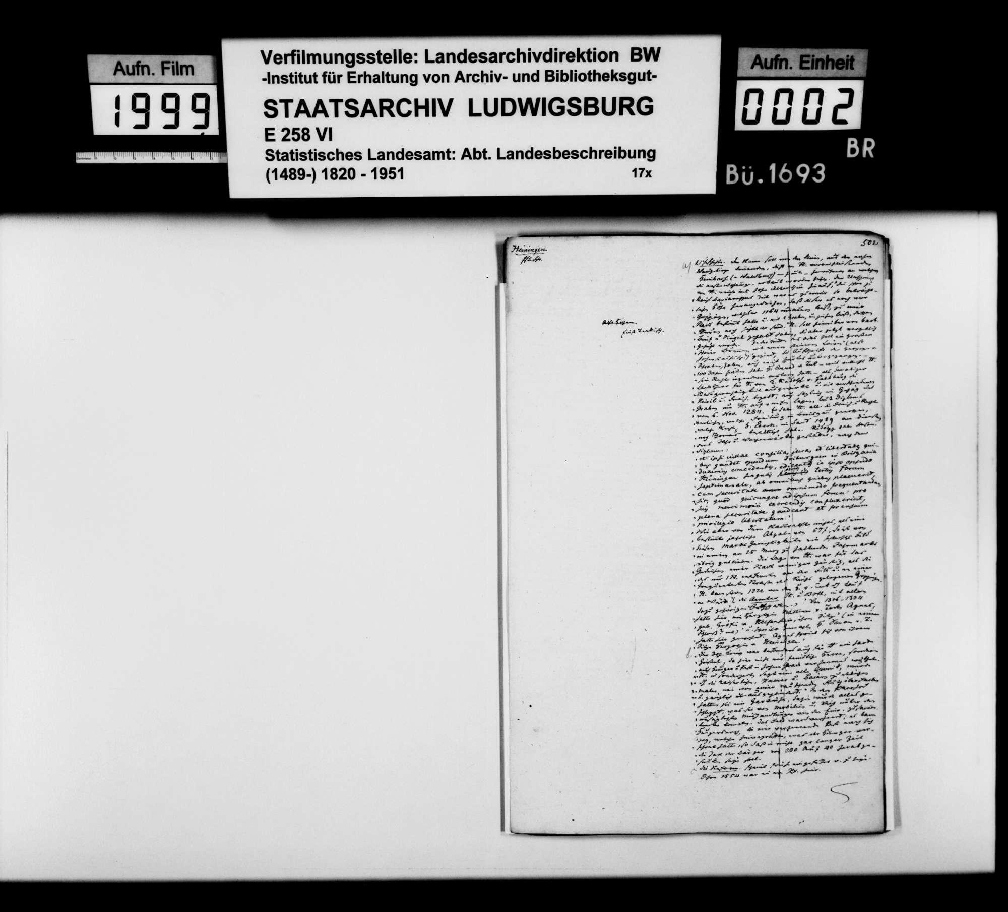 Desgleichen von Heiningen; fol. 502-513, Bild 1