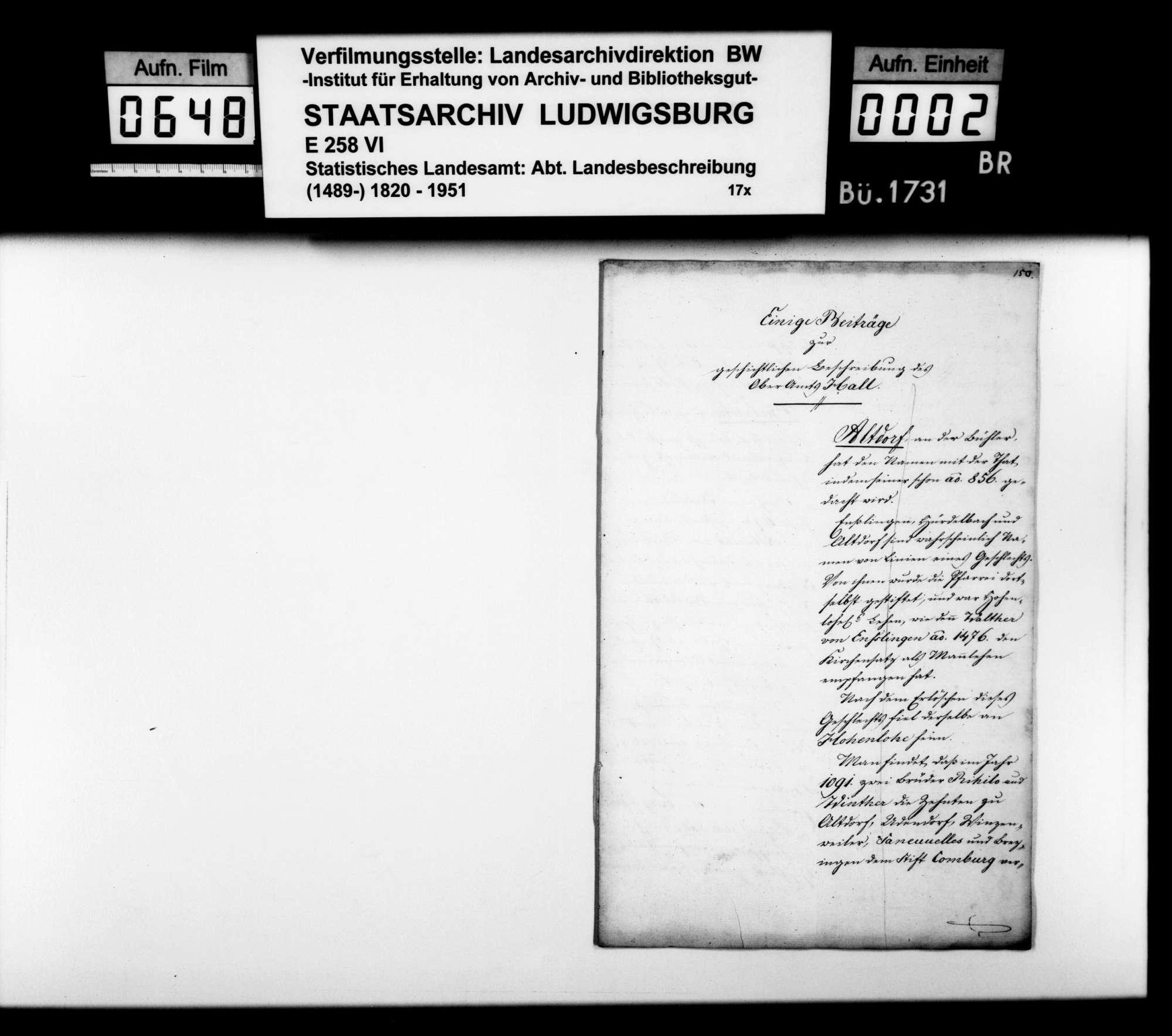 Abhandlung zum Adel und zur Besitzgeschichte einiger Orte im Oberamt, Bild 1