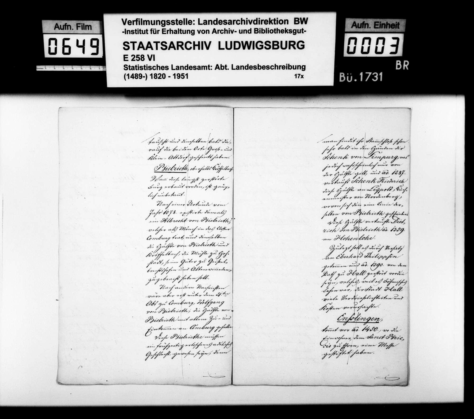 Abhandlung zum Adel und zur Besitzgeschichte einiger Orte im Oberamt, Bild 2
