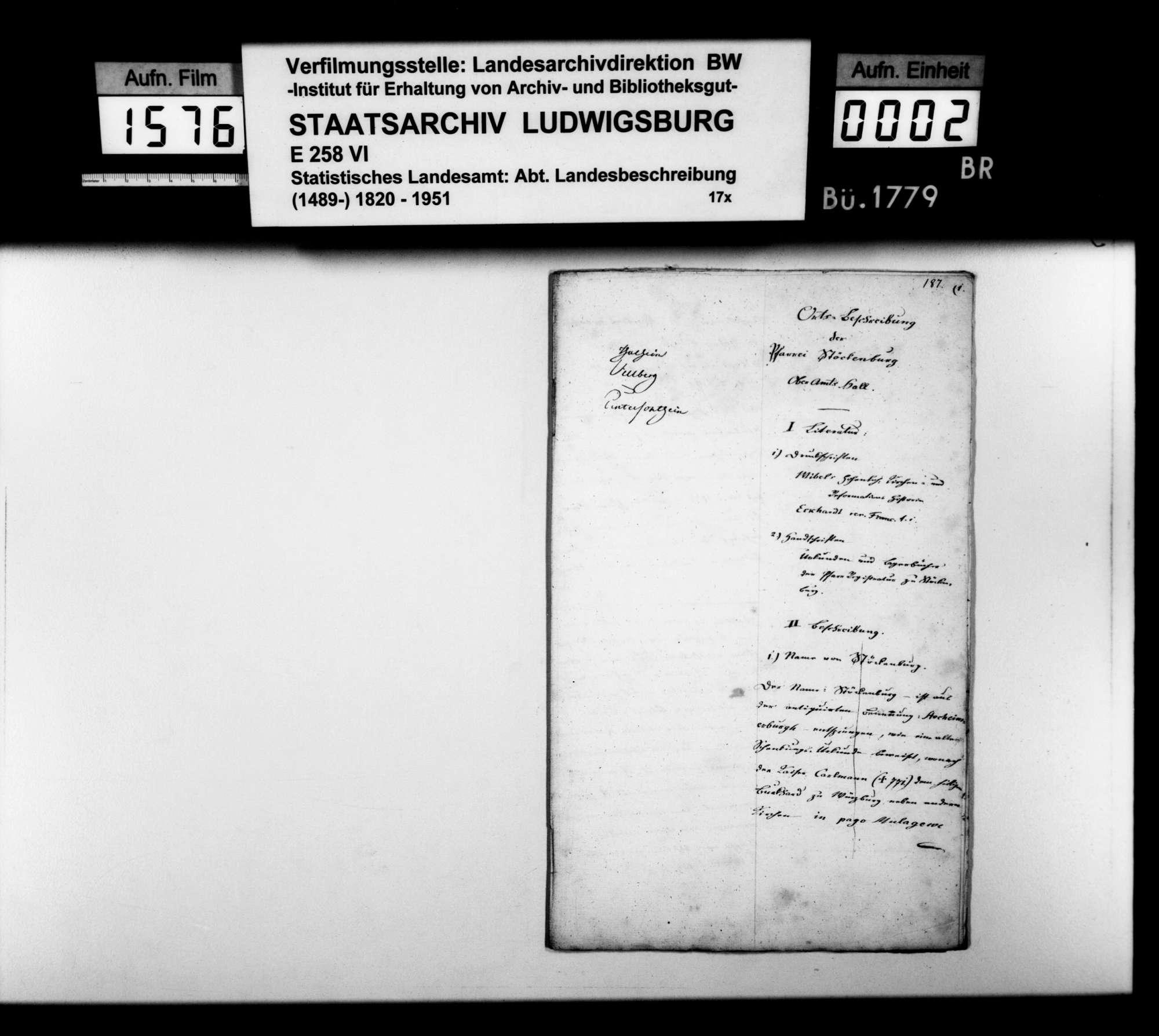 Beschreibung des Pfarrbezirks Stöckenburg von Pfarrer Renner nach den Themen wie oben bei Anhausen, Bild 1