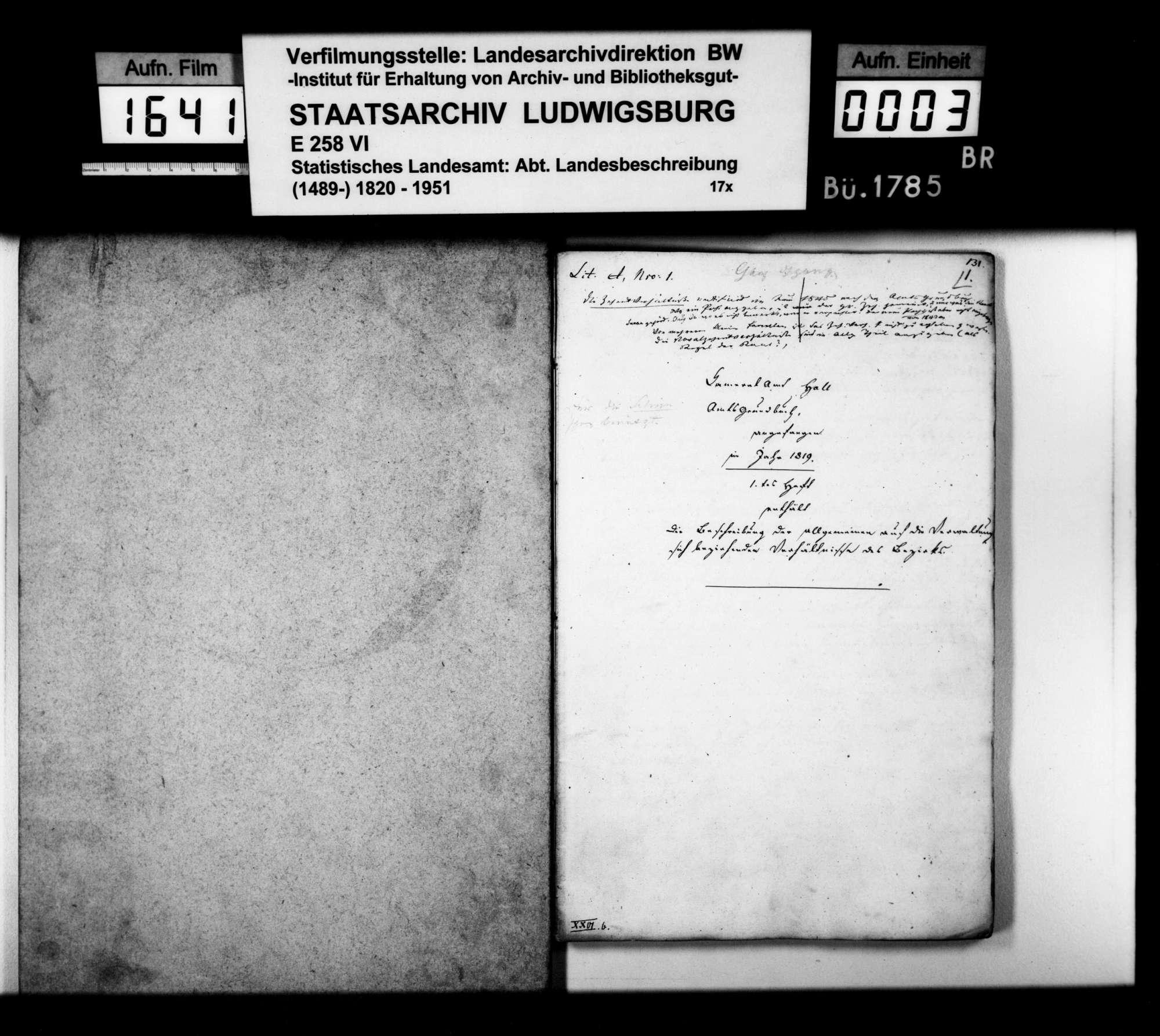 Auszüge aus Heft I des Kameralamtsgrundbuchs Hall von 1819 mit grundlegenden Daten zum Oberamt, Bild 1