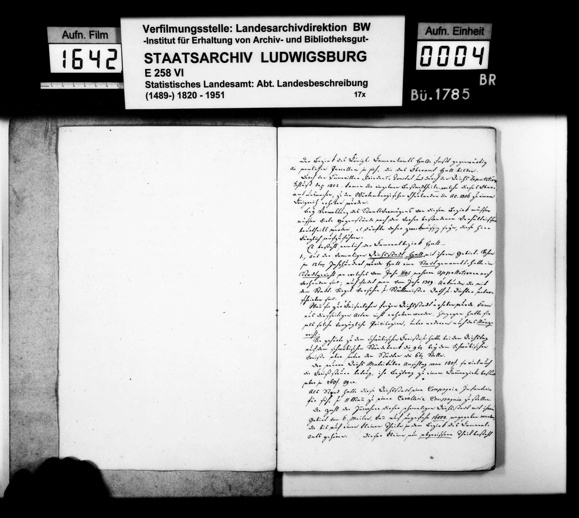 Auszüge aus Heft I des Kameralamtsgrundbuchs Hall von 1819 mit grundlegenden Daten zum Oberamt, Bild 2