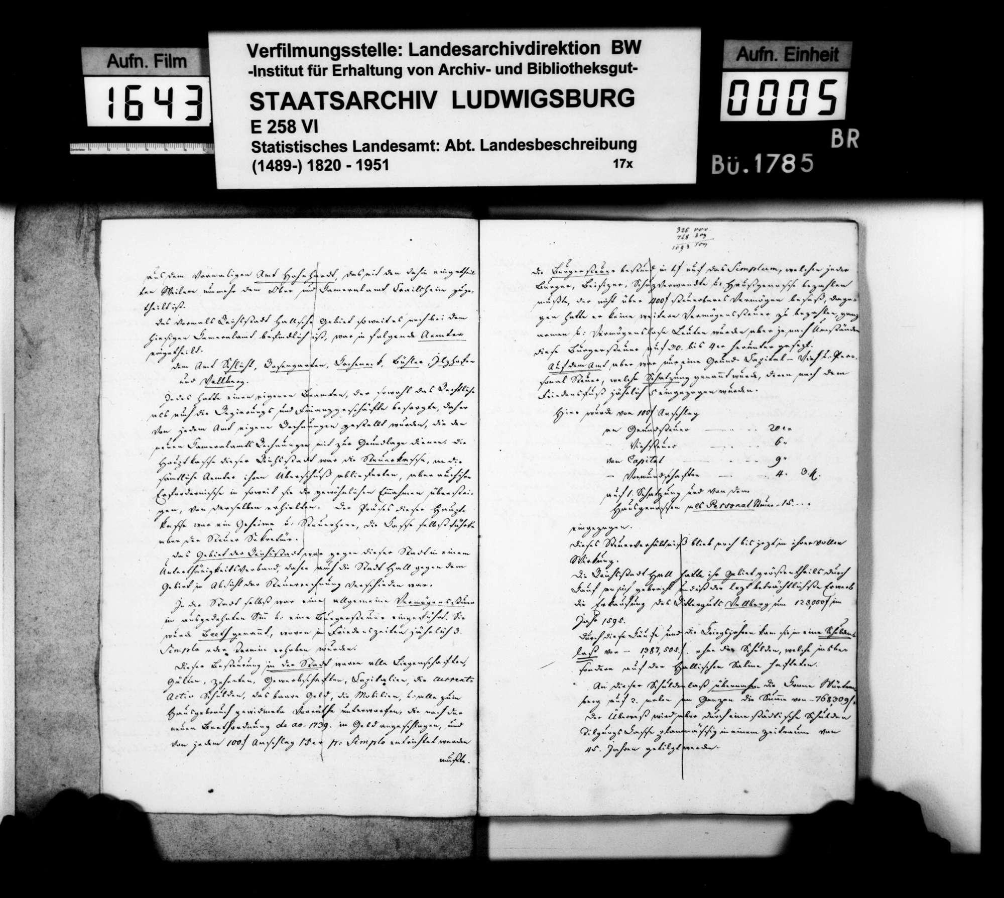 Auszüge aus Heft I des Kameralamtsgrundbuchs Hall von 1819 mit grundlegenden Daten zum Oberamt, Bild 3