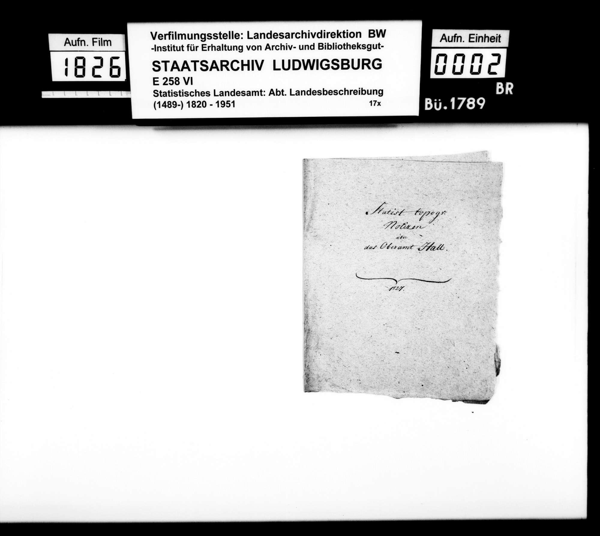 Statistisch-topographische Notizen [des Trigonometers Diezel] zur OAB, Bild 1