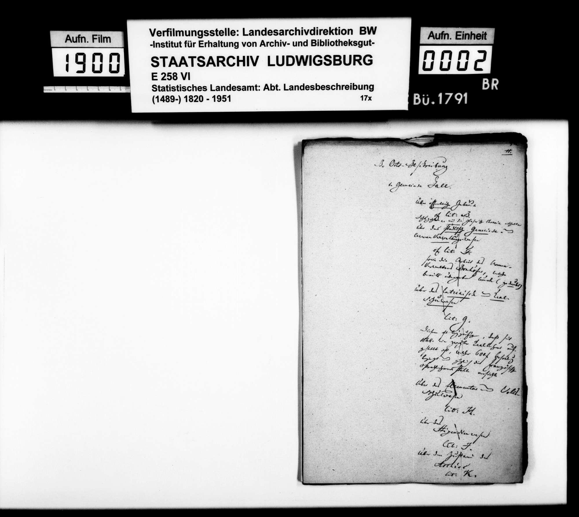 Notizen, Auszüge aus Archivaldokumenten und Textmanuskript [des Finanzrats Moser] zu Teil B (Ortsbeschreibung) der OAB, Bild 1