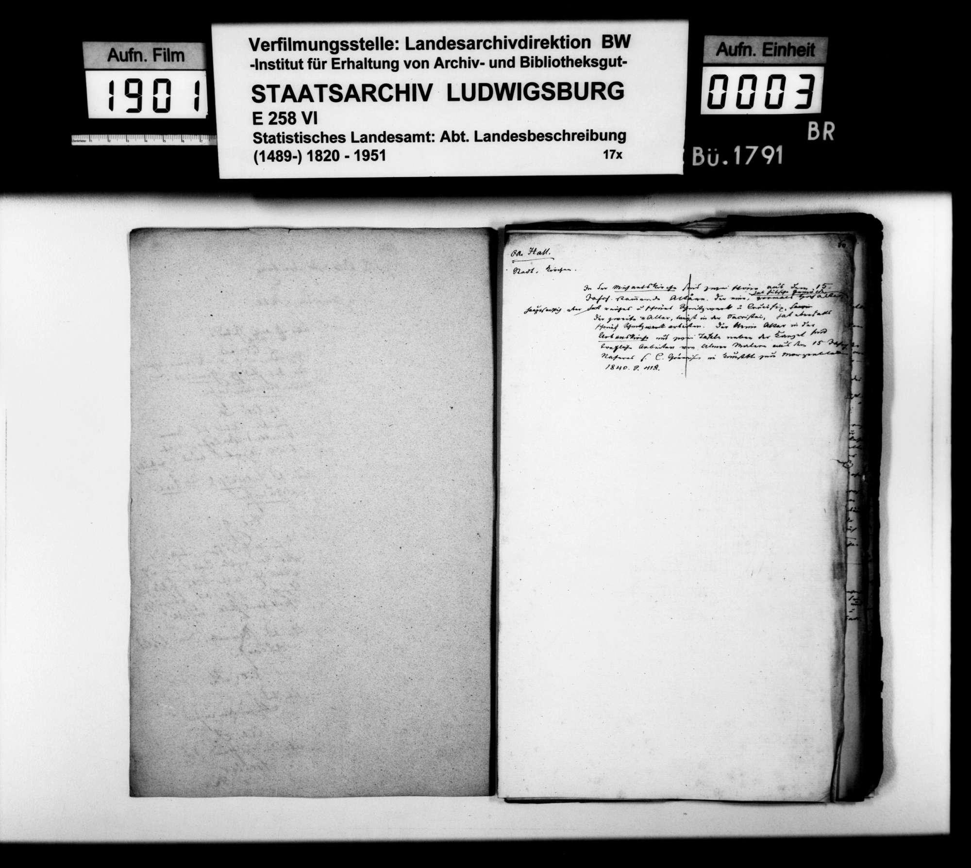 Notizen, Auszüge aus Archivaldokumenten und Textmanuskript [des Finanzrats Moser] zu Teil B (Ortsbeschreibung) der OAB, Bild 2