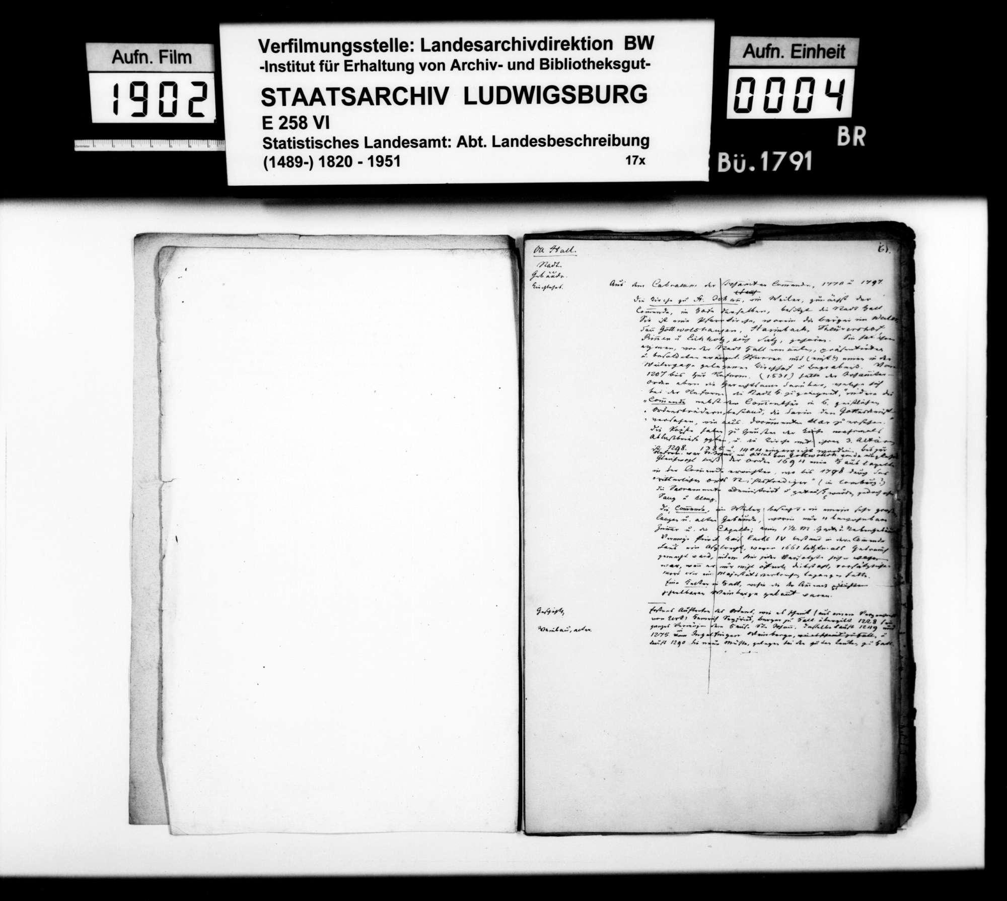 Notizen, Auszüge aus Archivaldokumenten und Textmanuskript [des Finanzrats Moser] zu Teil B (Ortsbeschreibung) der OAB, Bild 3