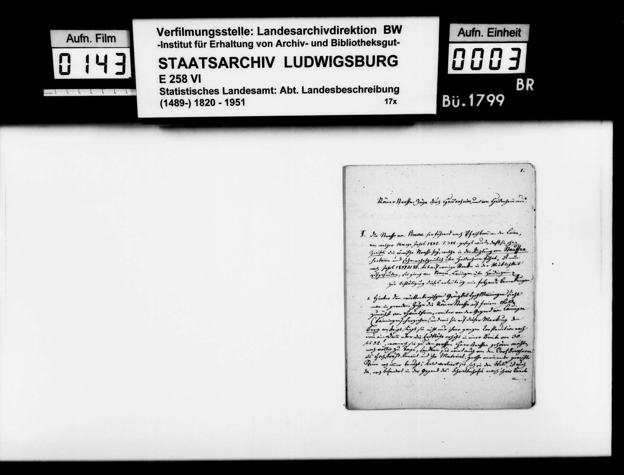 Mitteilungen des Diakons Klemm aus Giengen zu den Römerstraßen durch das Oberamt und zur Identifikation von Giengen als römisches Riusiava, Bild 2