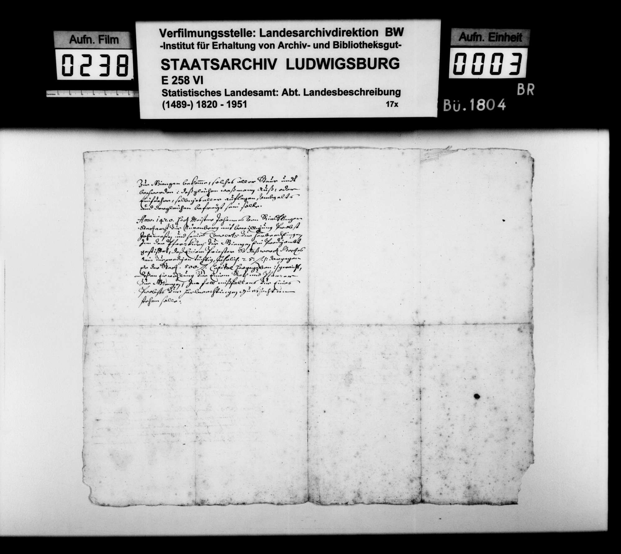 Stiftung und Erwerbungen des Klosters Herbrechtingen 1171-1420, o.Dat., o.Verf., Bild 2