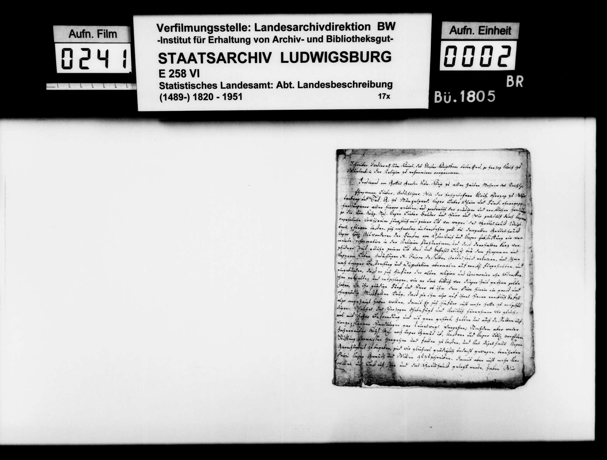 Kopierte Quellen zur Geschichte des Klosters Königsbronn, Bild 1