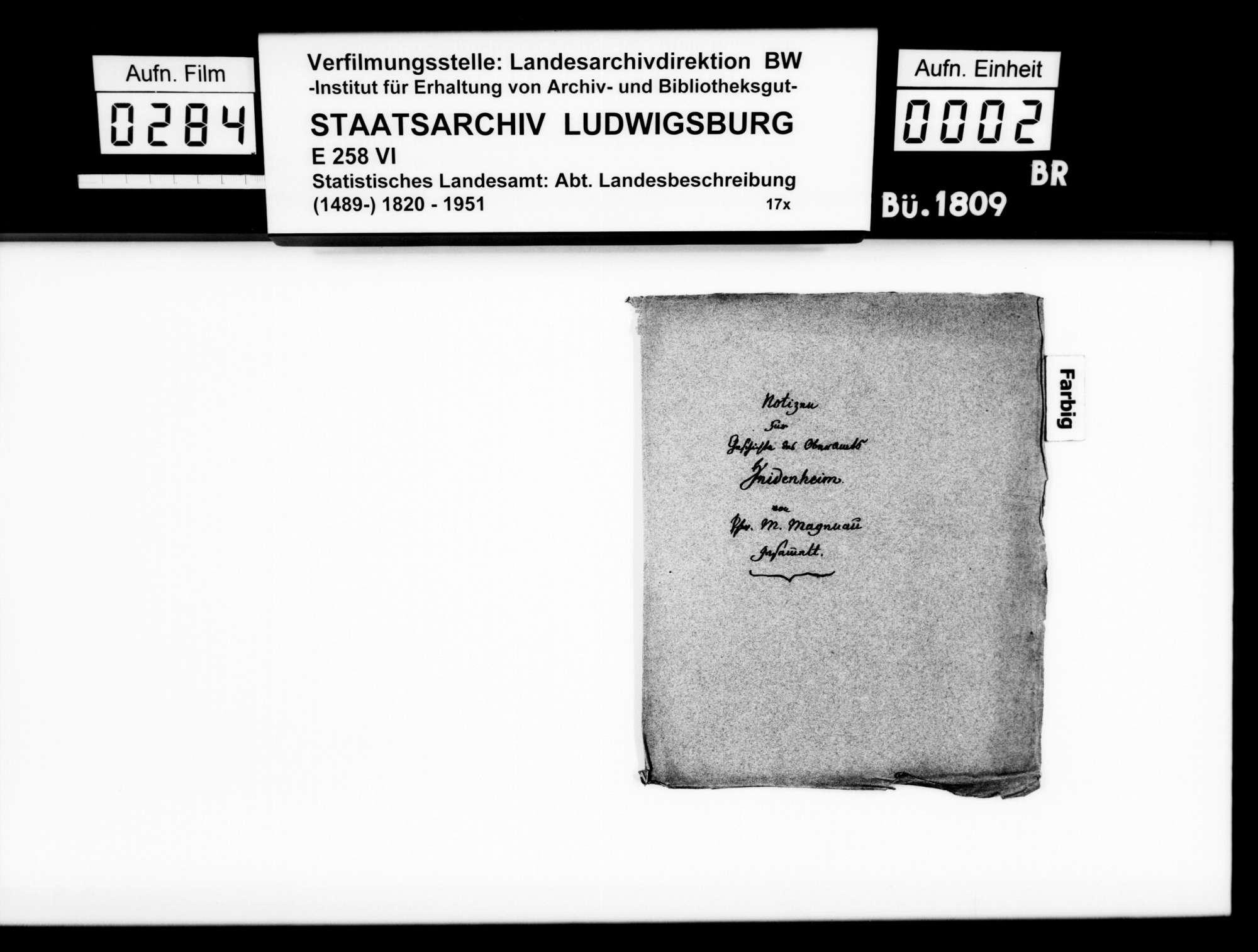 Kollektaneen des Pfarrers Magenau aus Hermaringen zur Geschichte des Oberamts Heidenheim, Bild 1