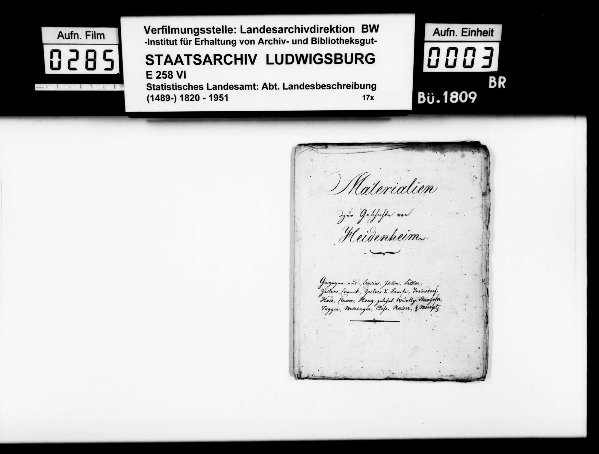 Kollektaneen des Pfarrers Magenau aus Hermaringen zur Geschichte des Oberamts Heidenheim, Bild 2