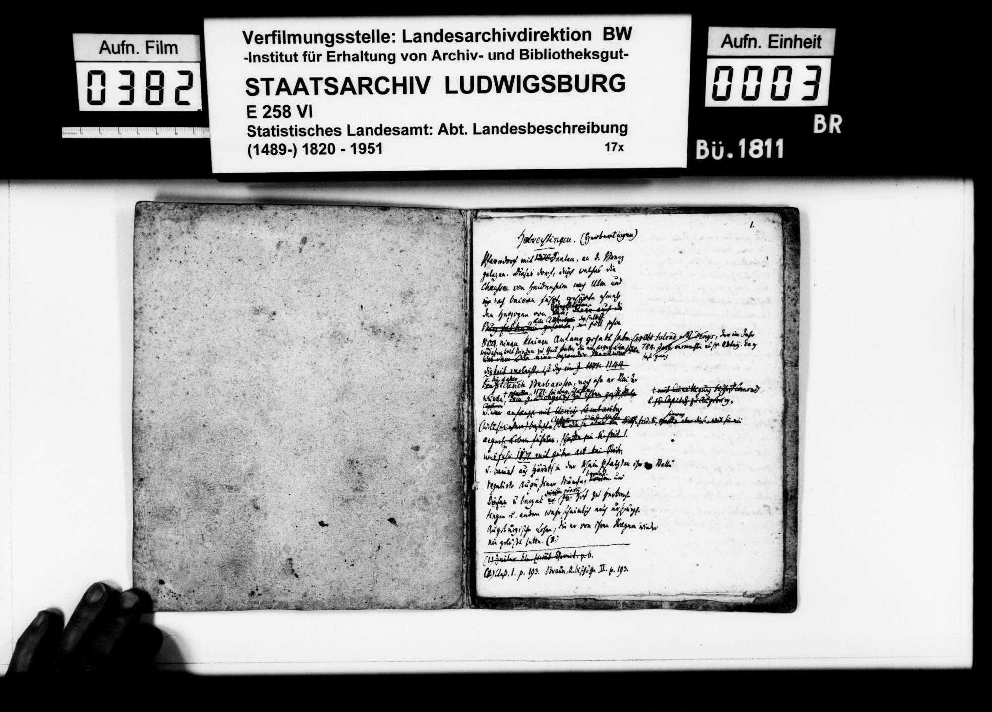 Notizen des Pfarrers Magenau aus Hermaringen zur Geschichte von Herbrechtingen, mit Kloster und Hof Bernau, Bild 2