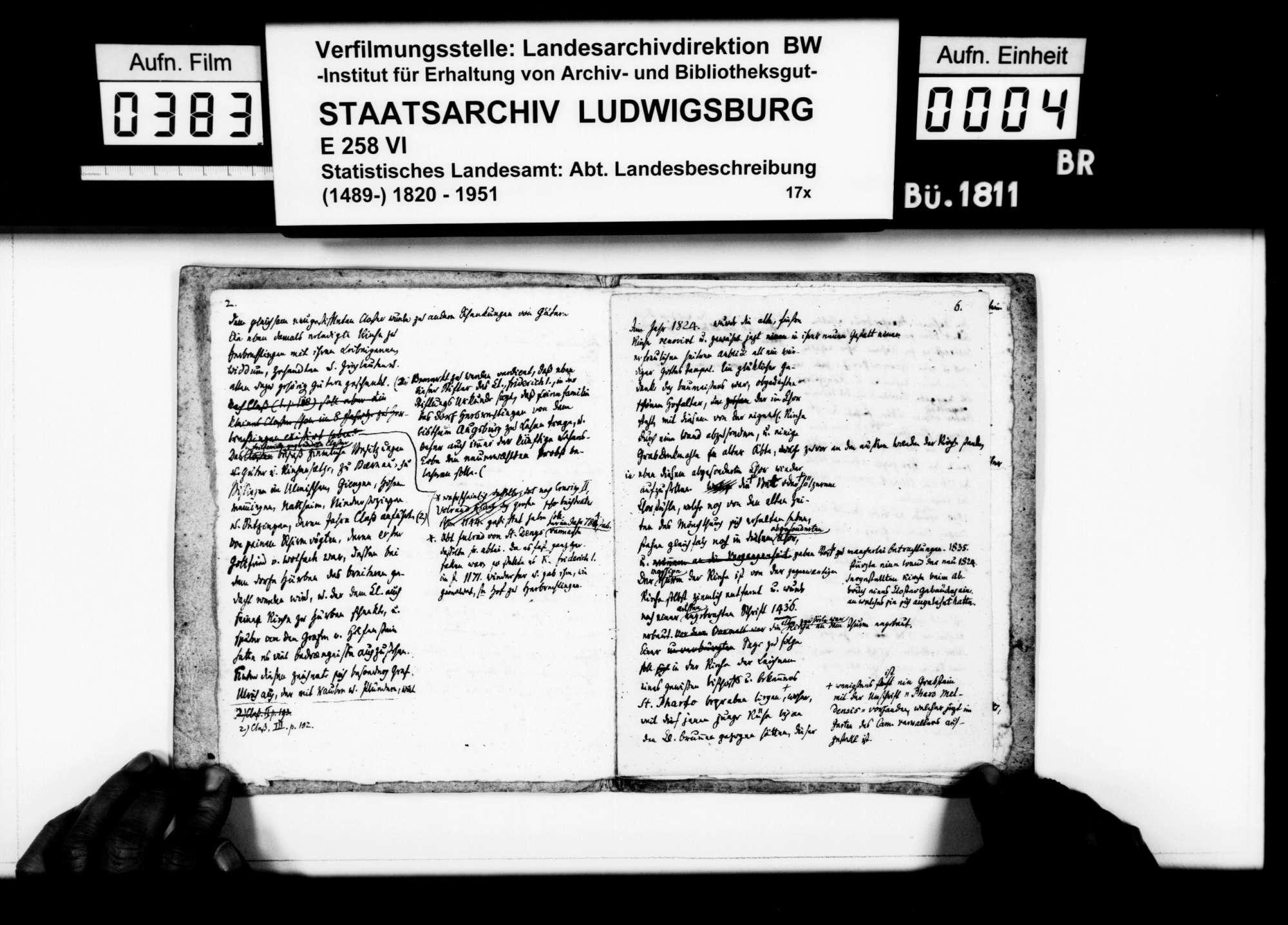 Notizen des Pfarrers Magenau aus Hermaringen zur Geschichte von Herbrechtingen, mit Kloster und Hof Bernau, Bild 3