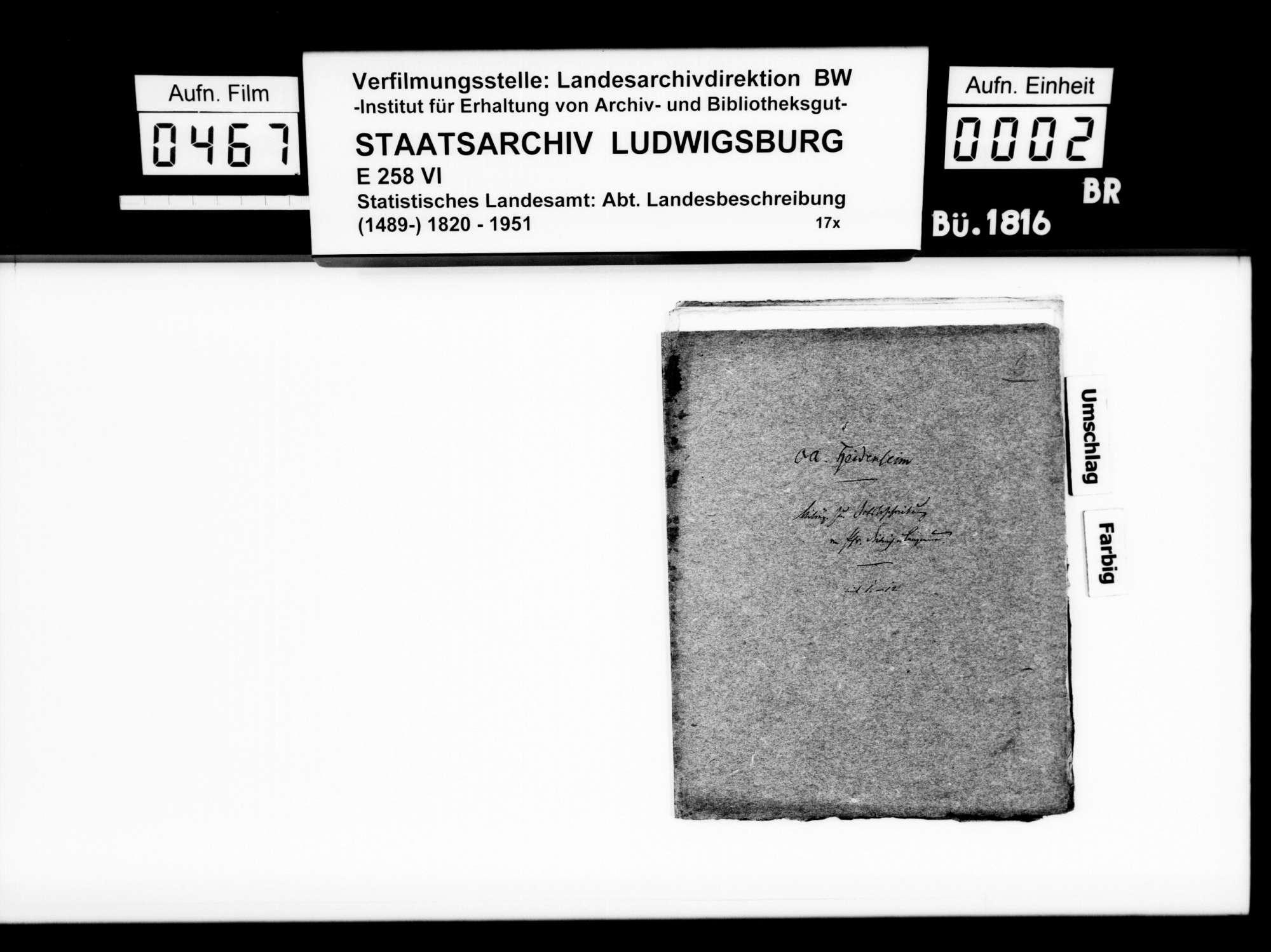 Kollektaneen des Pfarrers Dieterich aus Langenau zur Ortsgeschichte im Oberamt, Bild 1