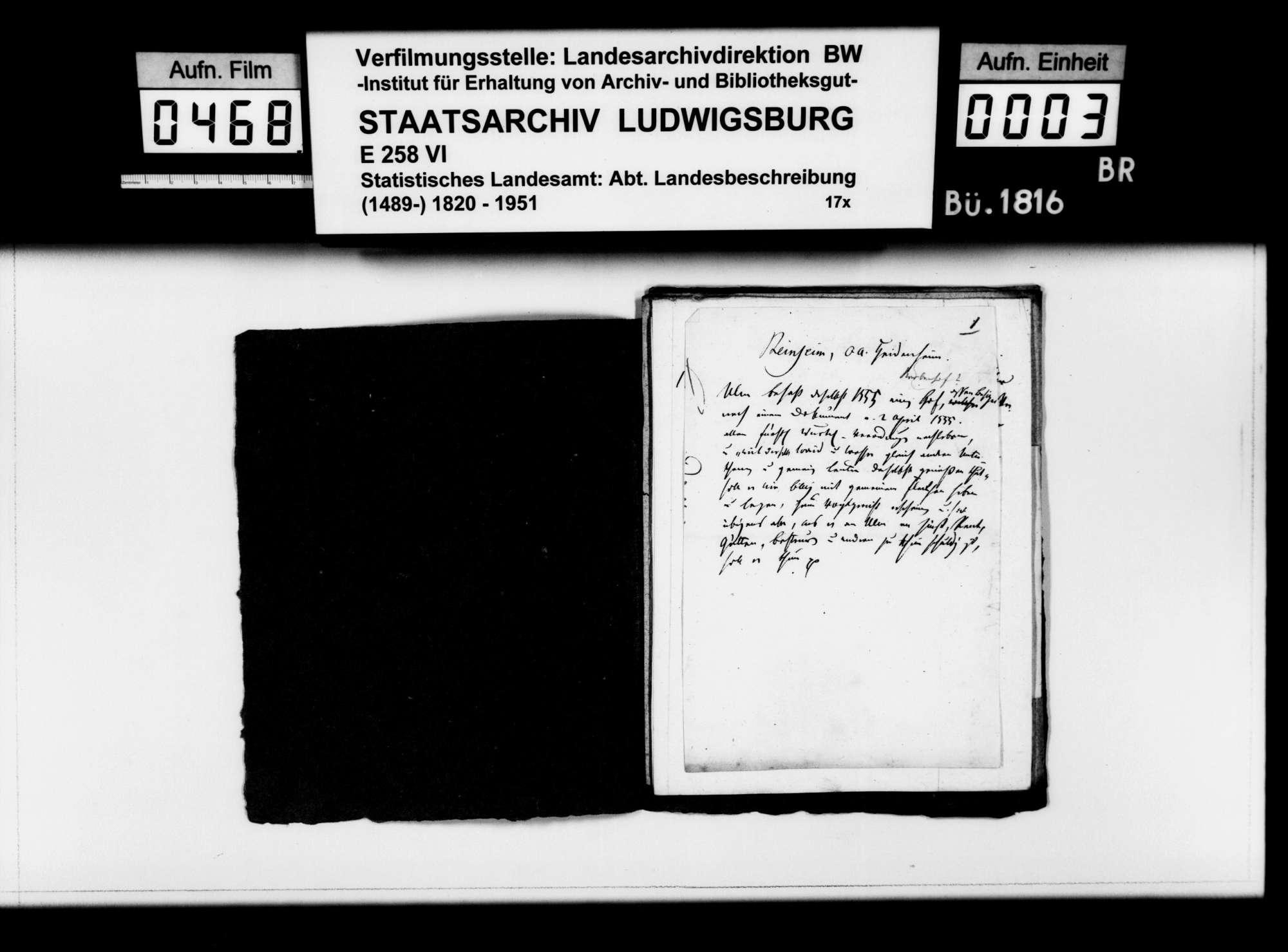 Kollektaneen des Pfarrers Dieterich aus Langenau zur Ortsgeschichte im Oberamt, Bild 2